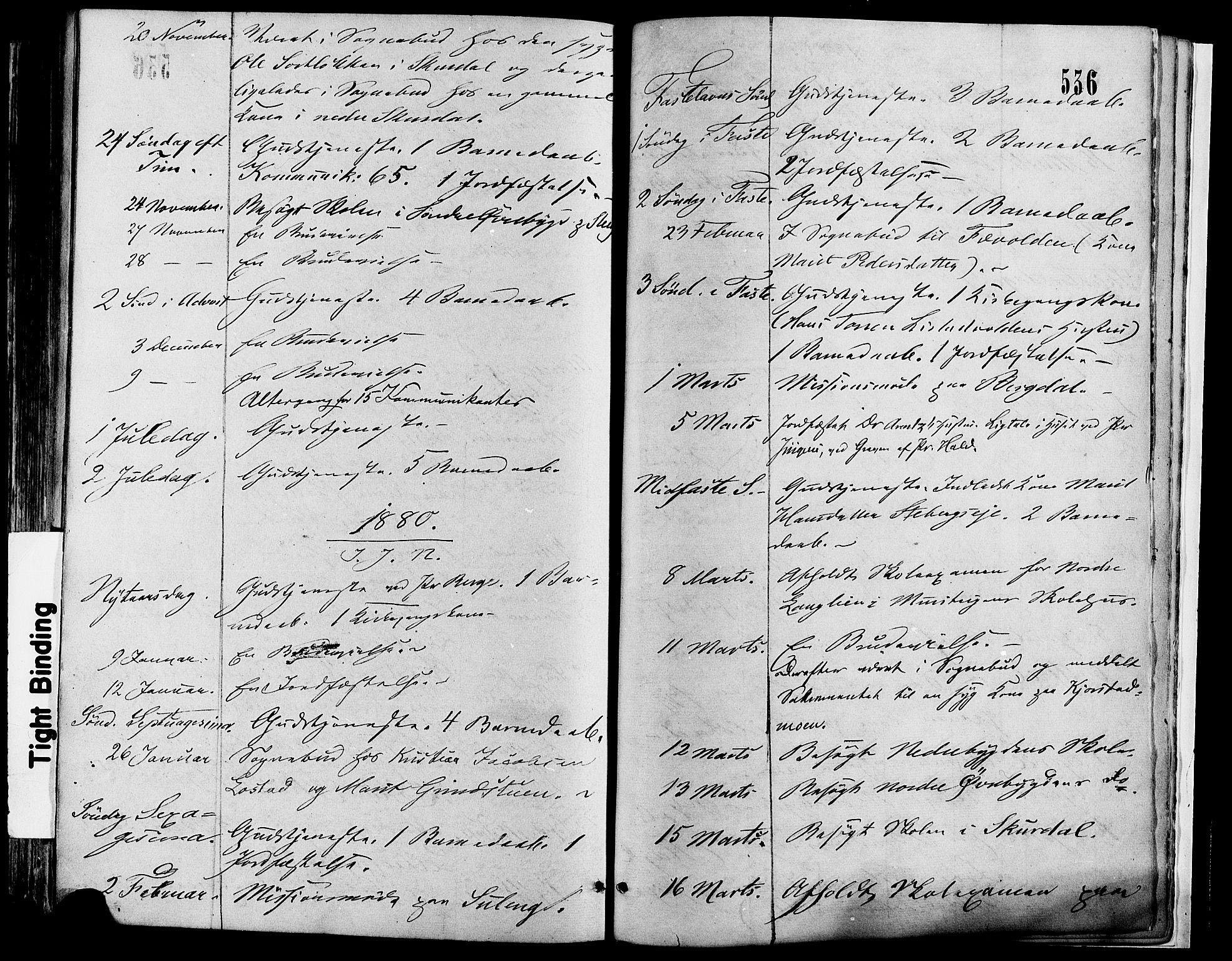 SAH, Sør-Fron prestekontor, H/Ha/Haa/L0002: Ministerialbok nr. 2, 1864-1880, s. 536