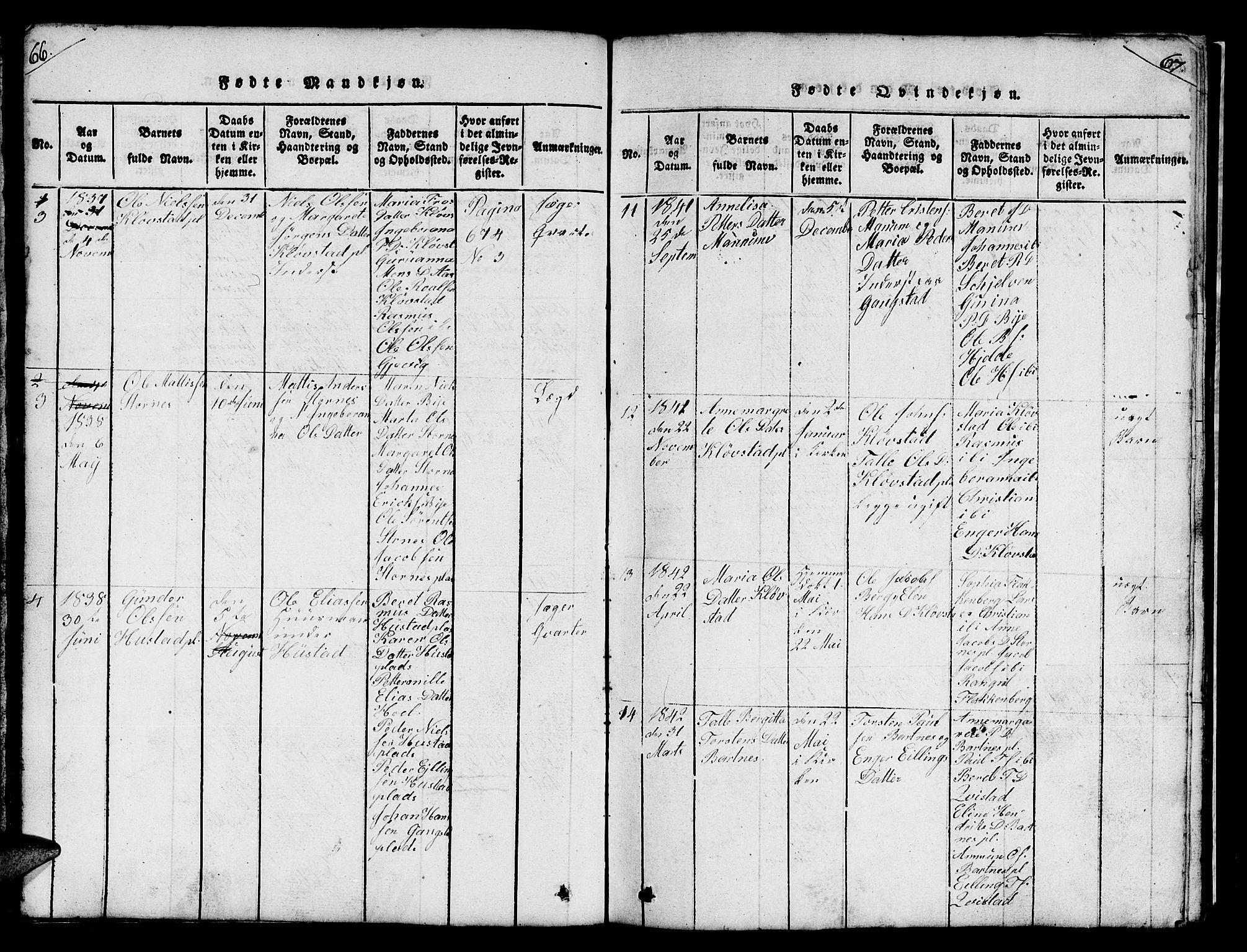 SAT, Ministerialprotokoller, klokkerbøker og fødselsregistre - Nord-Trøndelag, 732/L0317: Klokkerbok nr. 732C01, 1816-1881, s. 66-67