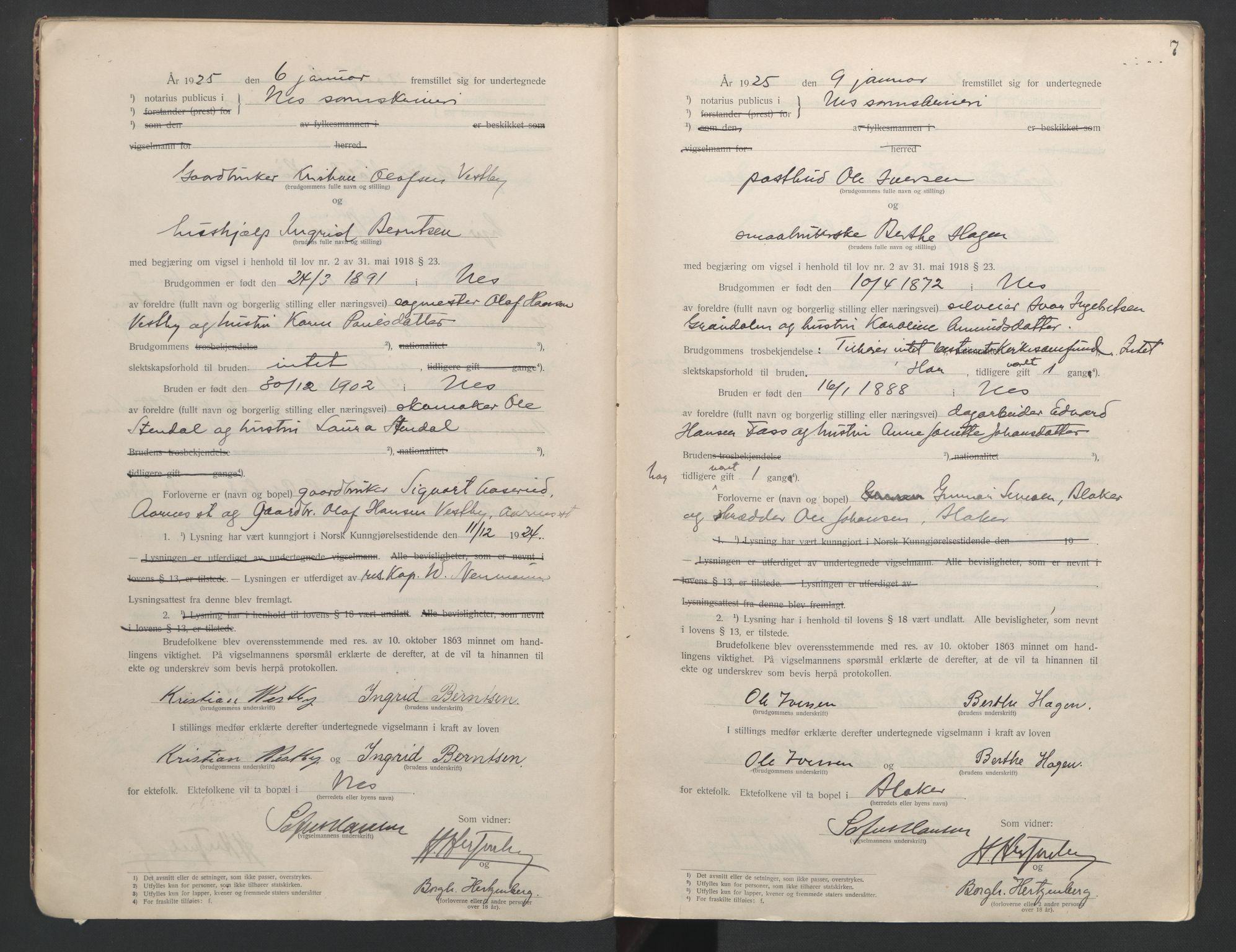 SAO, Nes tingrett, L/Lc/Lca/L0001: Vigselbok, 1920-1943, s. 7