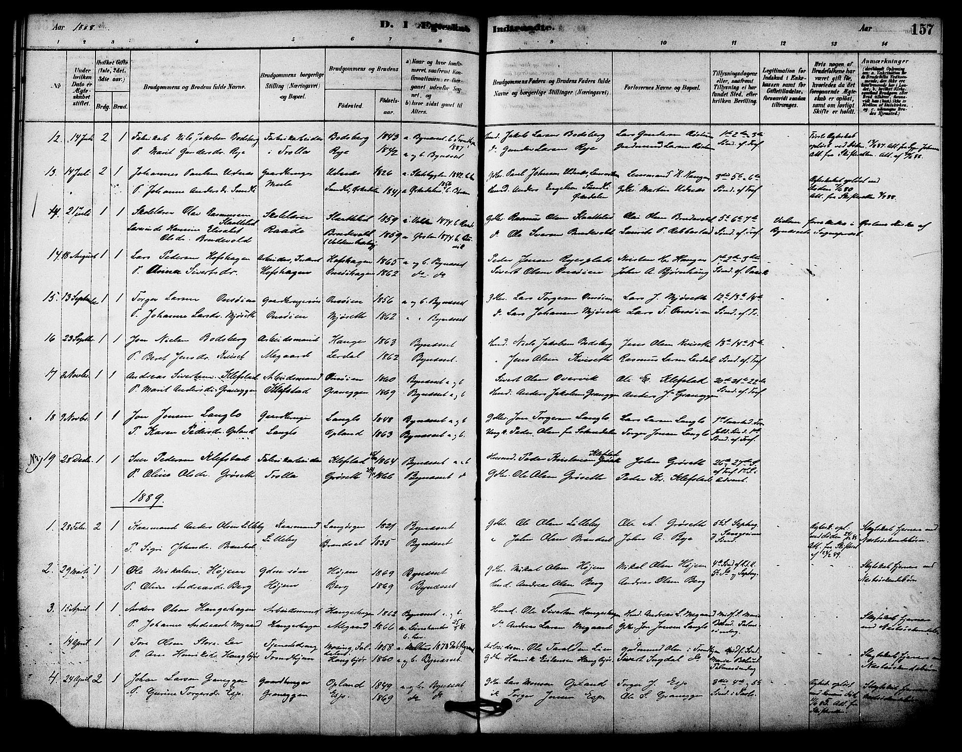 SAT, Ministerialprotokoller, klokkerbøker og fødselsregistre - Sør-Trøndelag, 612/L0378: Ministerialbok nr. 612A10, 1878-1897, s. 157