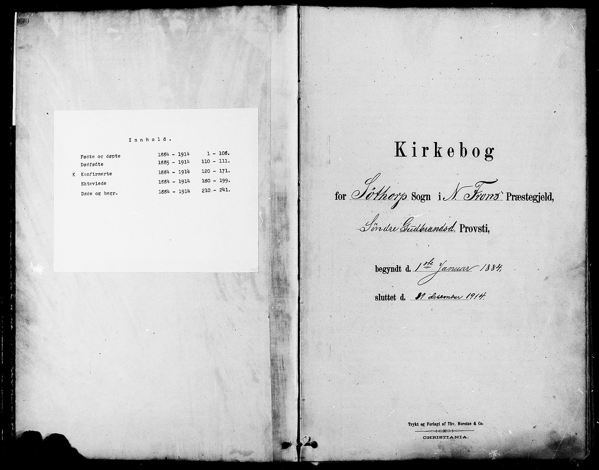SAH, Nord-Fron prestekontor, Klokkerbok nr. 4, 1884-1914