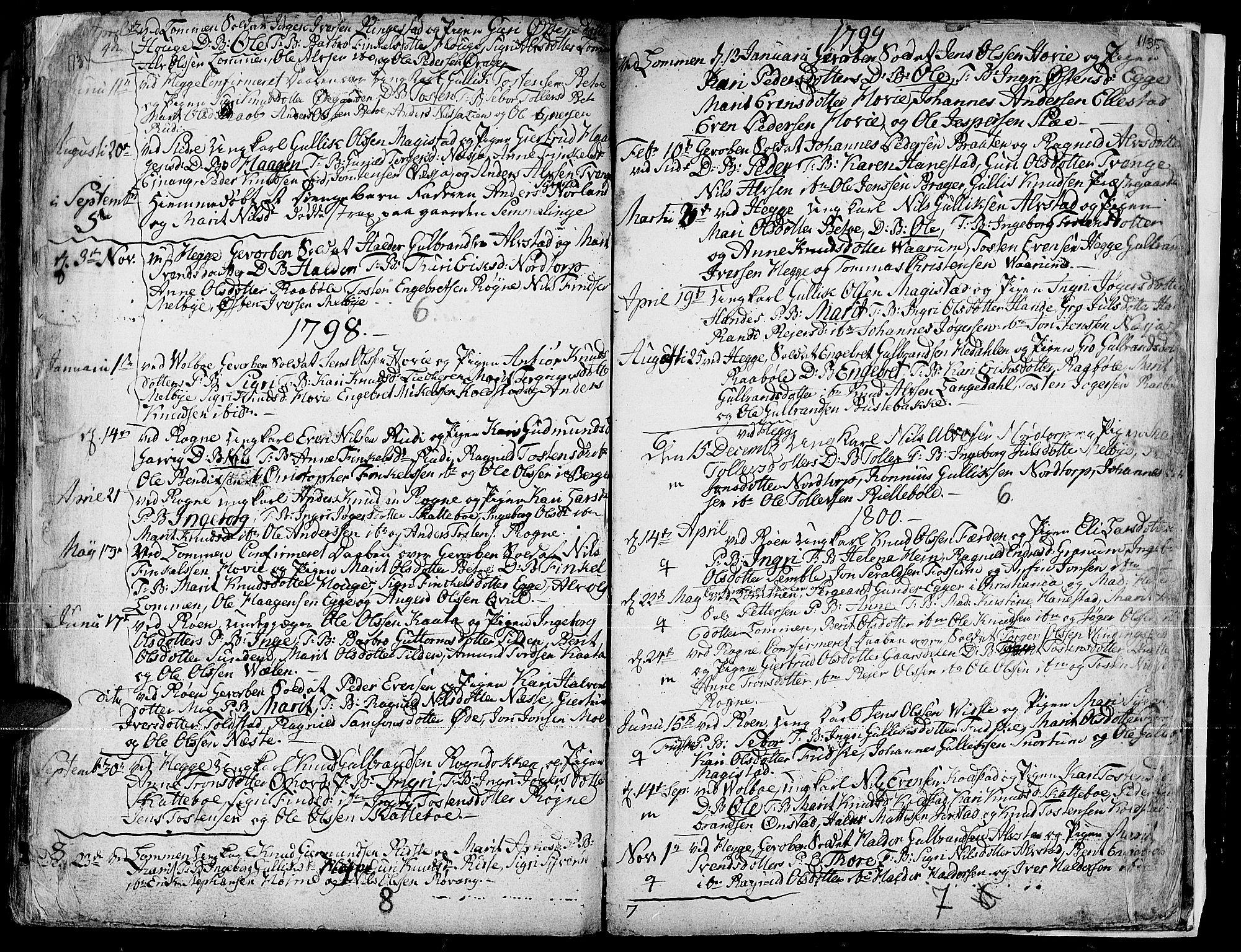 SAH, Slidre prestekontor, Ministerialbok nr. 1, 1724-1814, s. 1134-1135