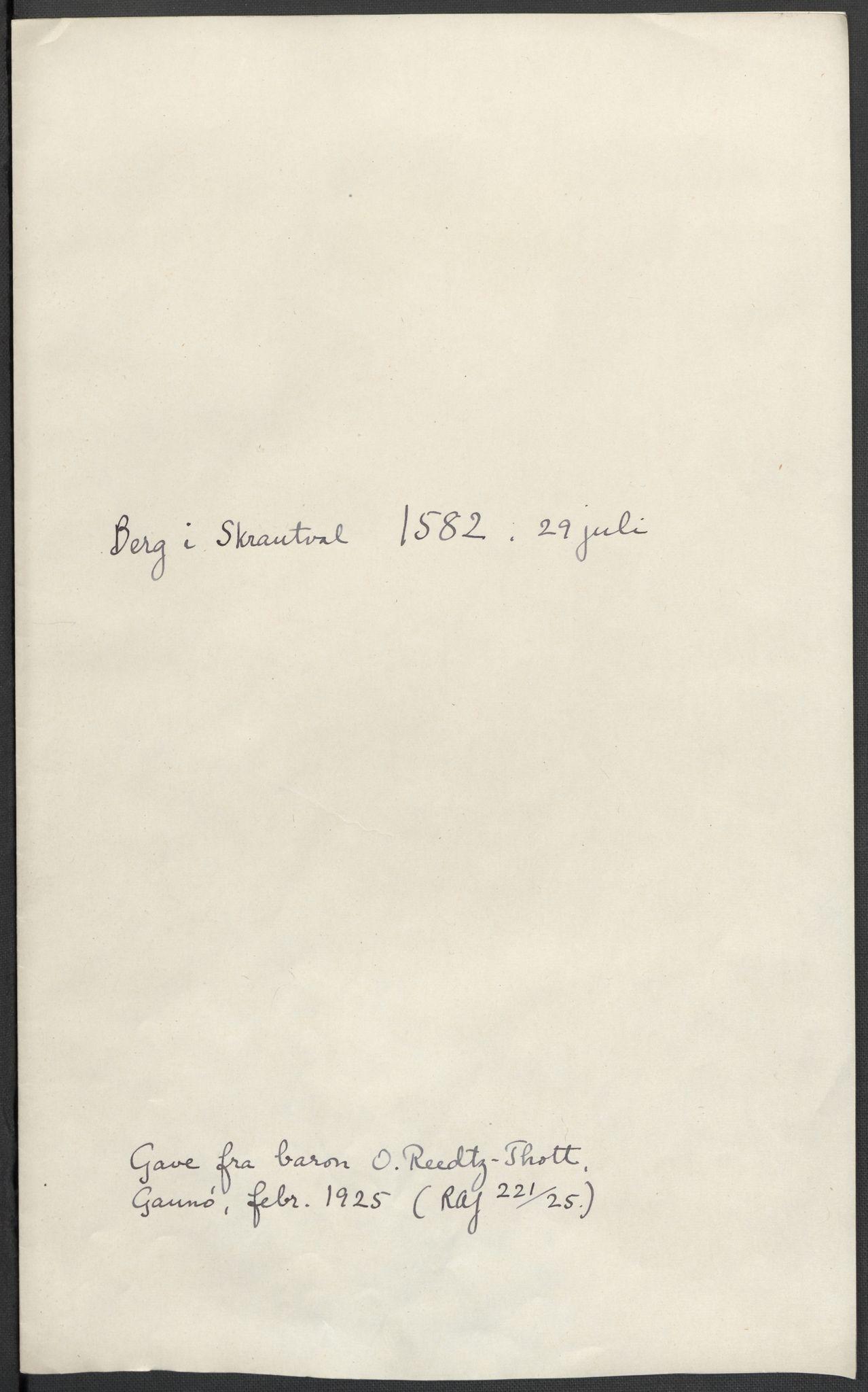 RA, Riksarkivets diplomsamling, F02/L0084: Dokumenter, 1582, s. 39
