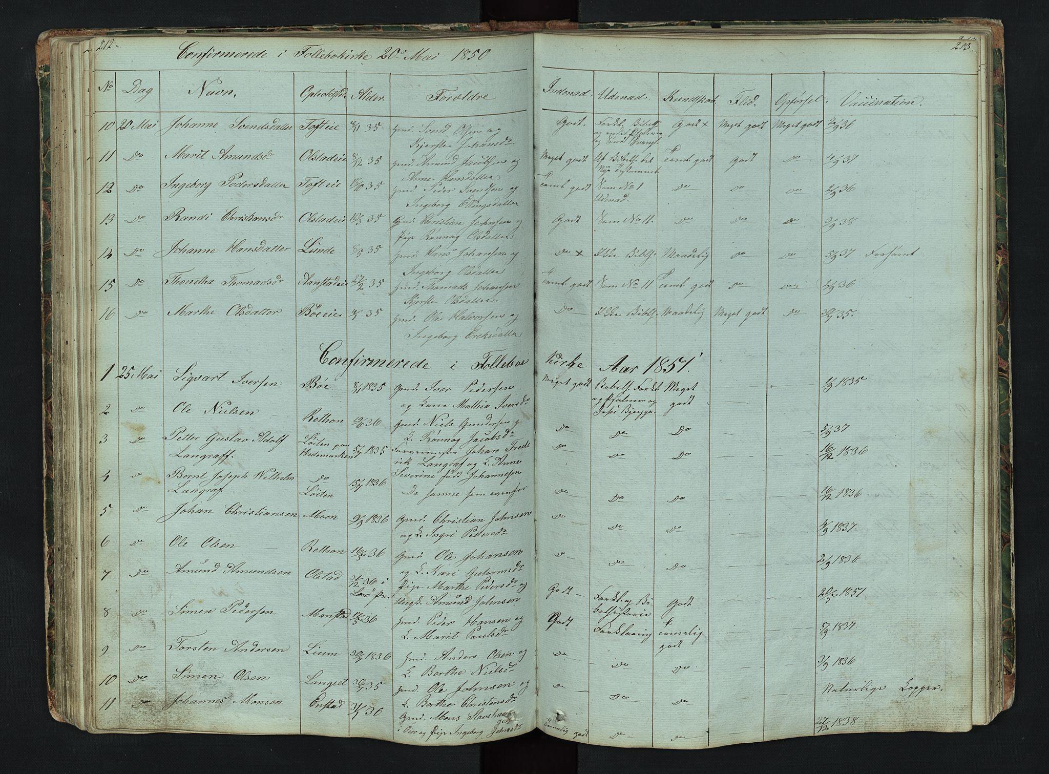 SAH, Gausdal prestekontor, Klokkerbok nr. 6, 1846-1893, s. 212-213