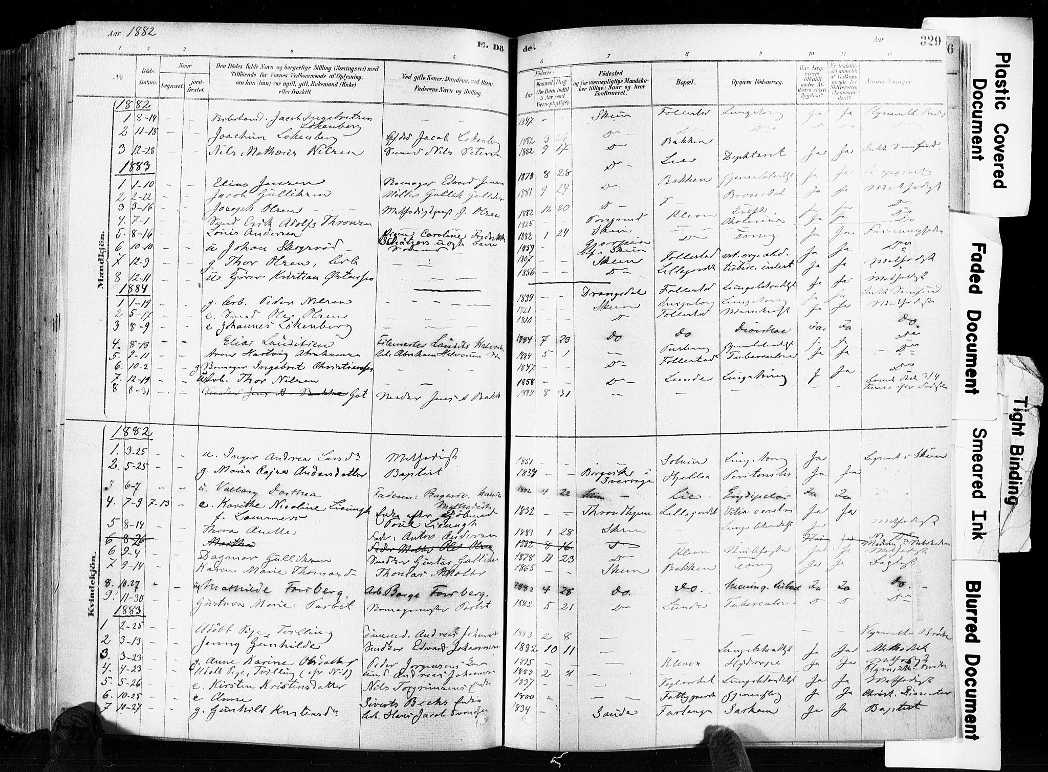 SAKO, Skien kirkebøker, F/Fa/L0009: Ministerialbok nr. 9, 1878-1890, s. 329