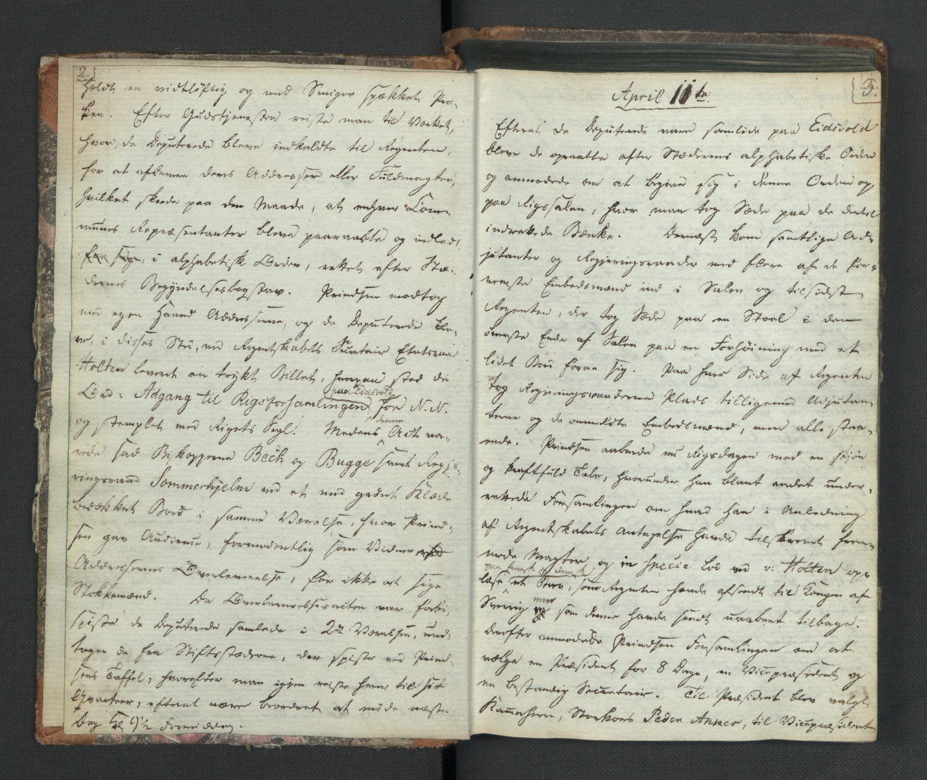 RA, Manuskriptsamlingen, H/L0021: Byfogd Gregers Winther Wulfbergs dagbok under Riksforsamlingen på Eidsvoll, 1814, s. 2-3
