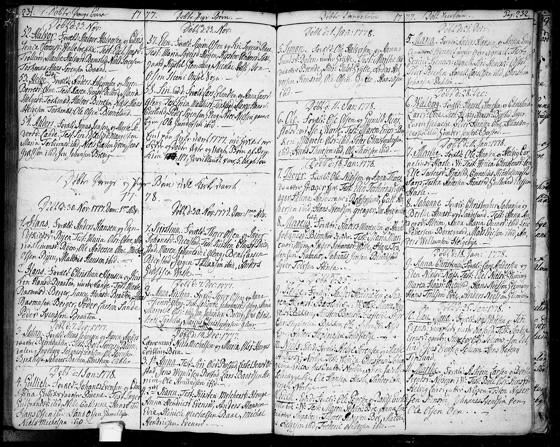 SAO, Tune prestekontor Kirkebøker, F/Fa/L0002: Ministerialbok nr. 2, 1758-1781, s. 231-232