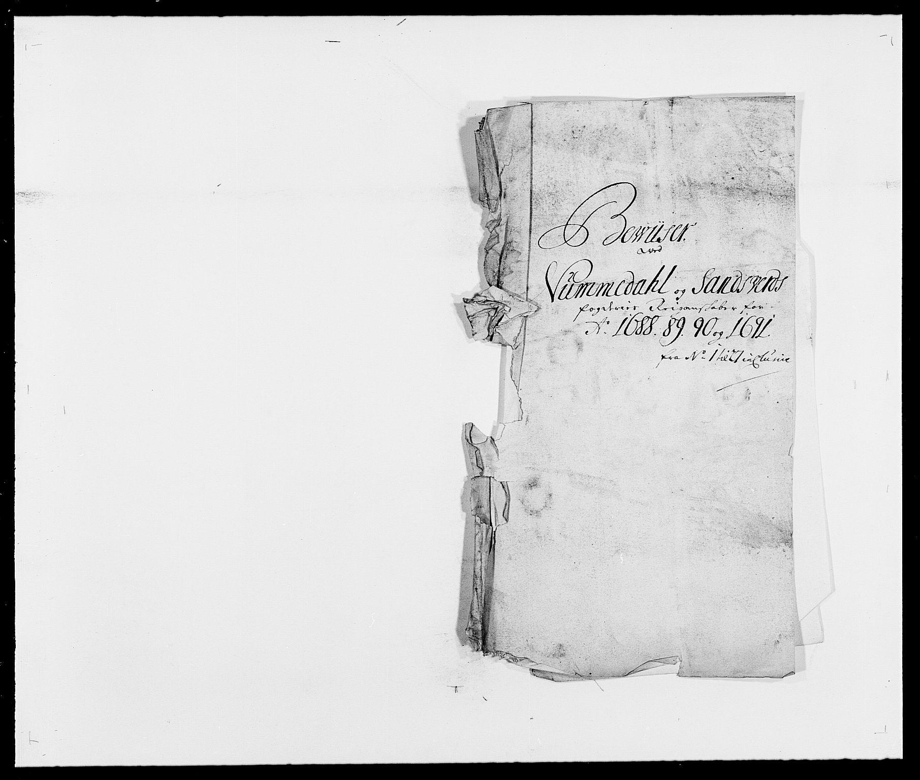 RA, Rentekammeret inntil 1814, Reviderte regnskaper, Fogderegnskap, R24/L1574: Fogderegnskap Numedal og Sandsvær, 1688-1691, s. 1