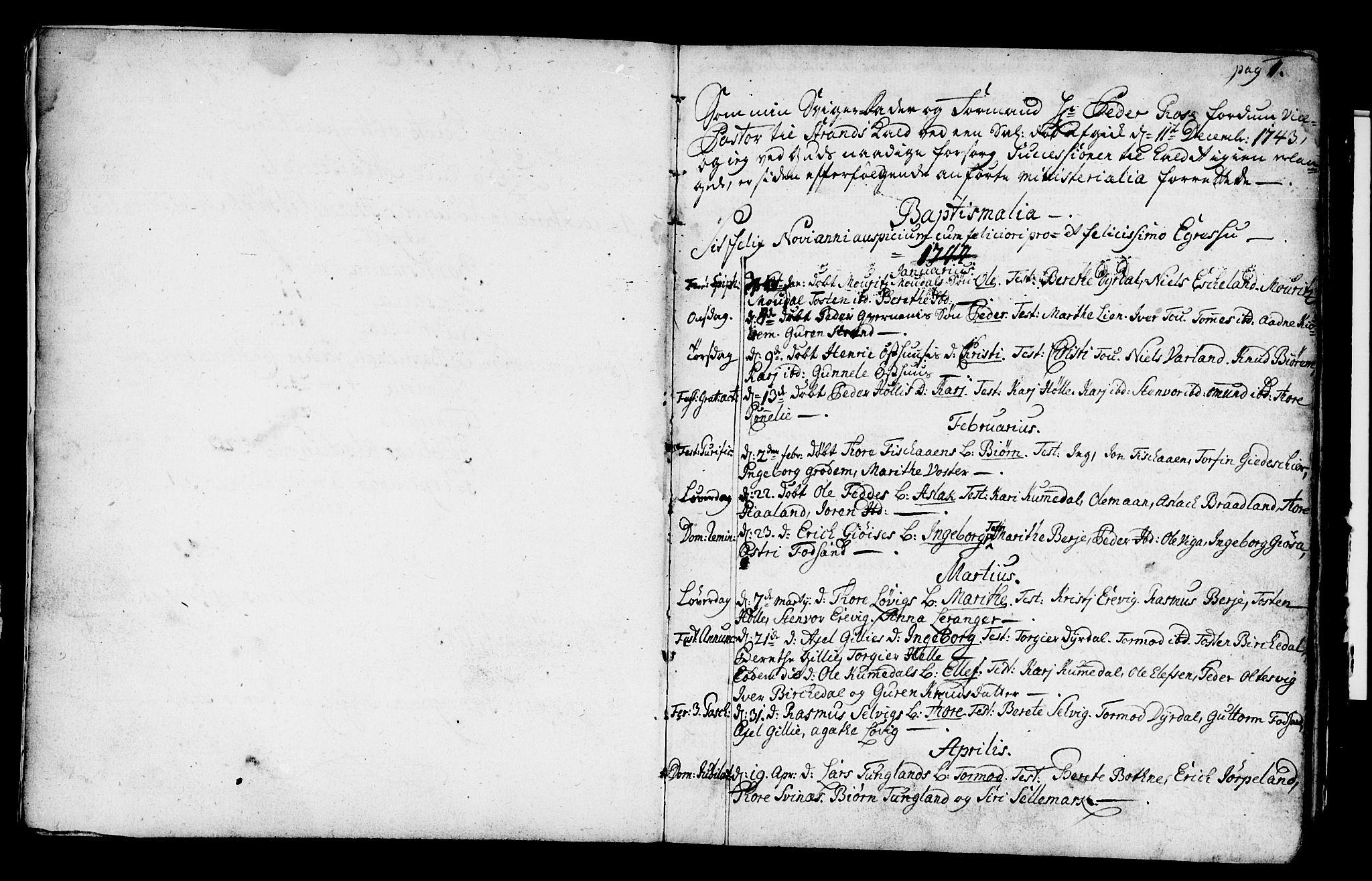 SAST, Strand sokneprestkontor, H/Ha/Haa/L0002: Ministerialbok nr. A 2, 1744-1768, s. 1
