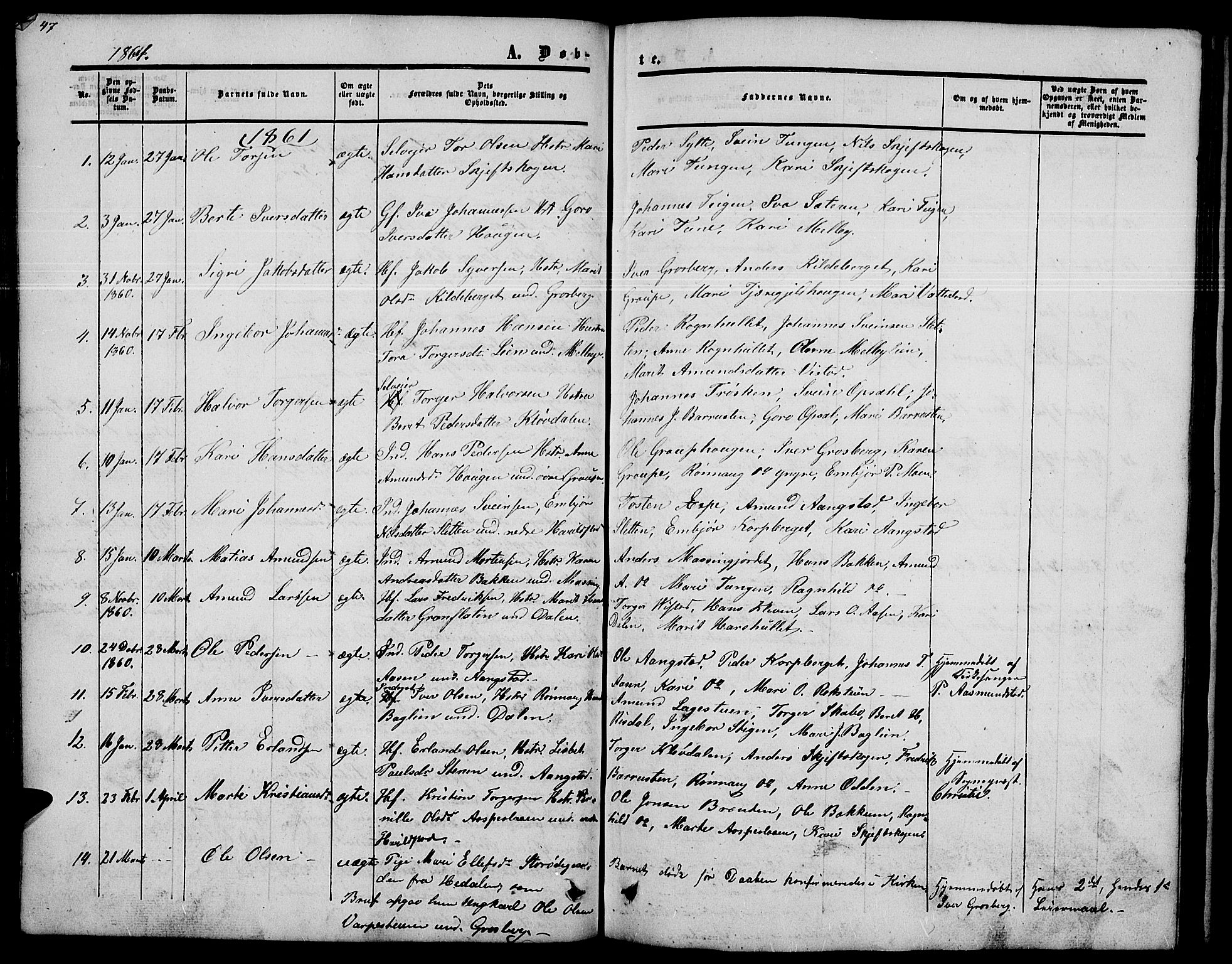 SAH, Nord-Fron prestekontor, Klokkerbok nr. 2, 1851-1883, s. 47