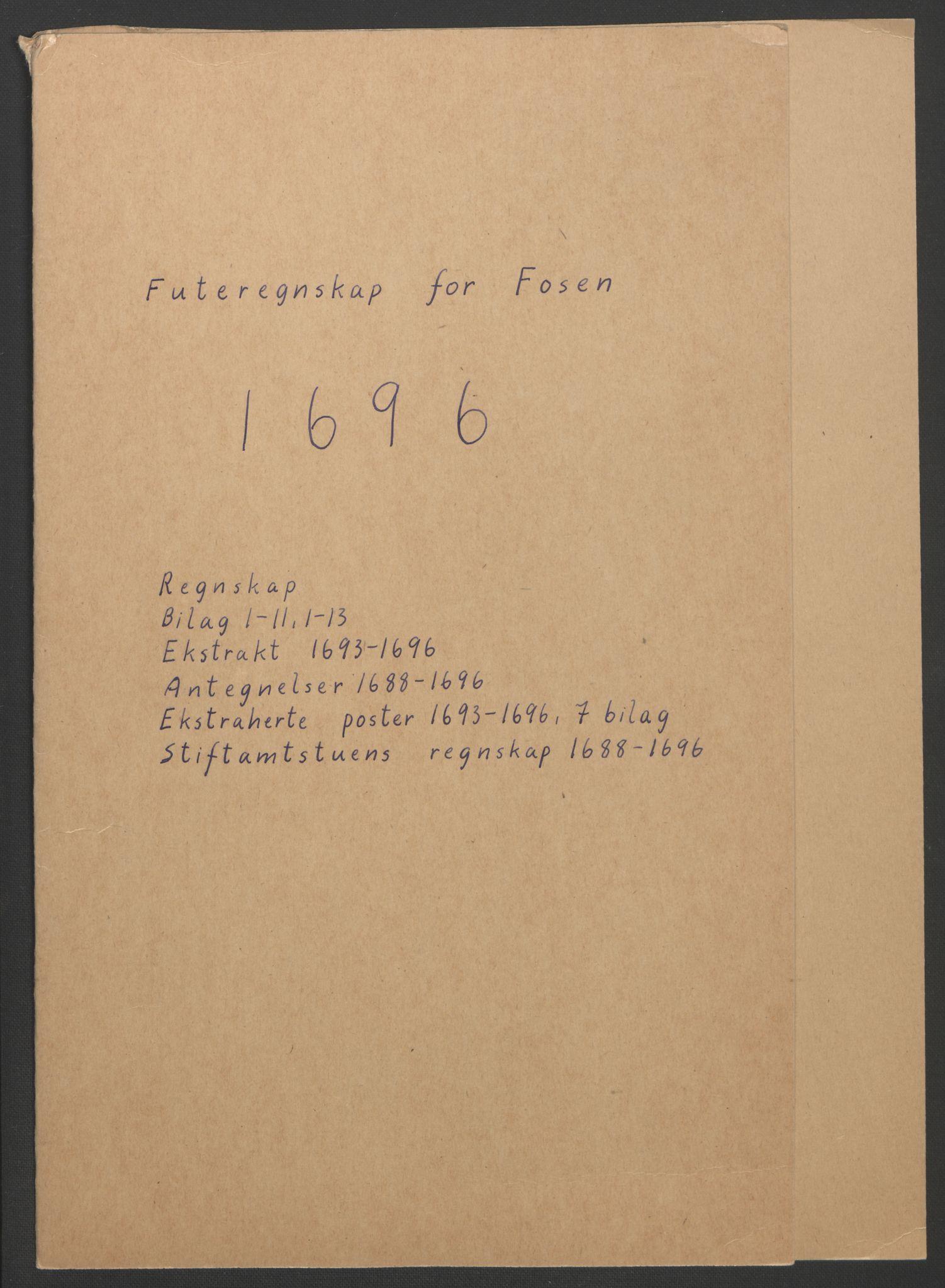 RA, Rentekammeret inntil 1814, Reviderte regnskaper, Fogderegnskap, R57/L3851: Fogderegnskap Fosen, 1695-1696, s. 191