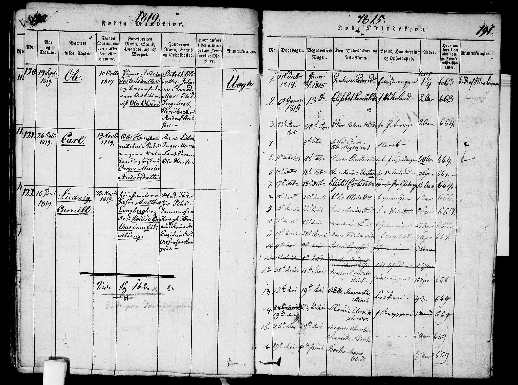 SAO, Garnisonsmenigheten Kirkebøker, G/Ga/L0003: Klokkerbok nr. 3, 1815-1819, s. 190-191