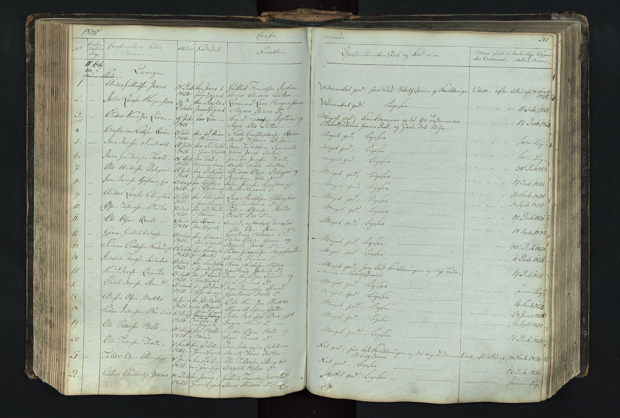 SAH, Vang prestekontor, Valdres, Klokkerbok nr. 4, 1835-1892, s. 213