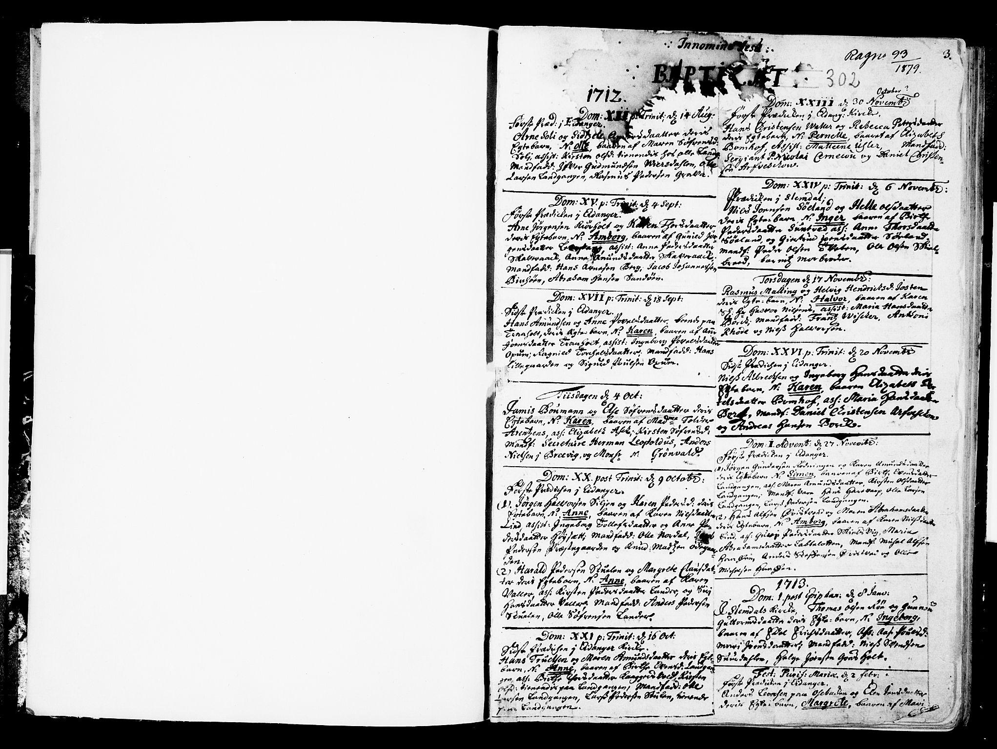 SAKO, Eidanger kirkebøker, F/Fa/L0002: Ministerialbok nr. 2, 1712-1720, s. 2-3