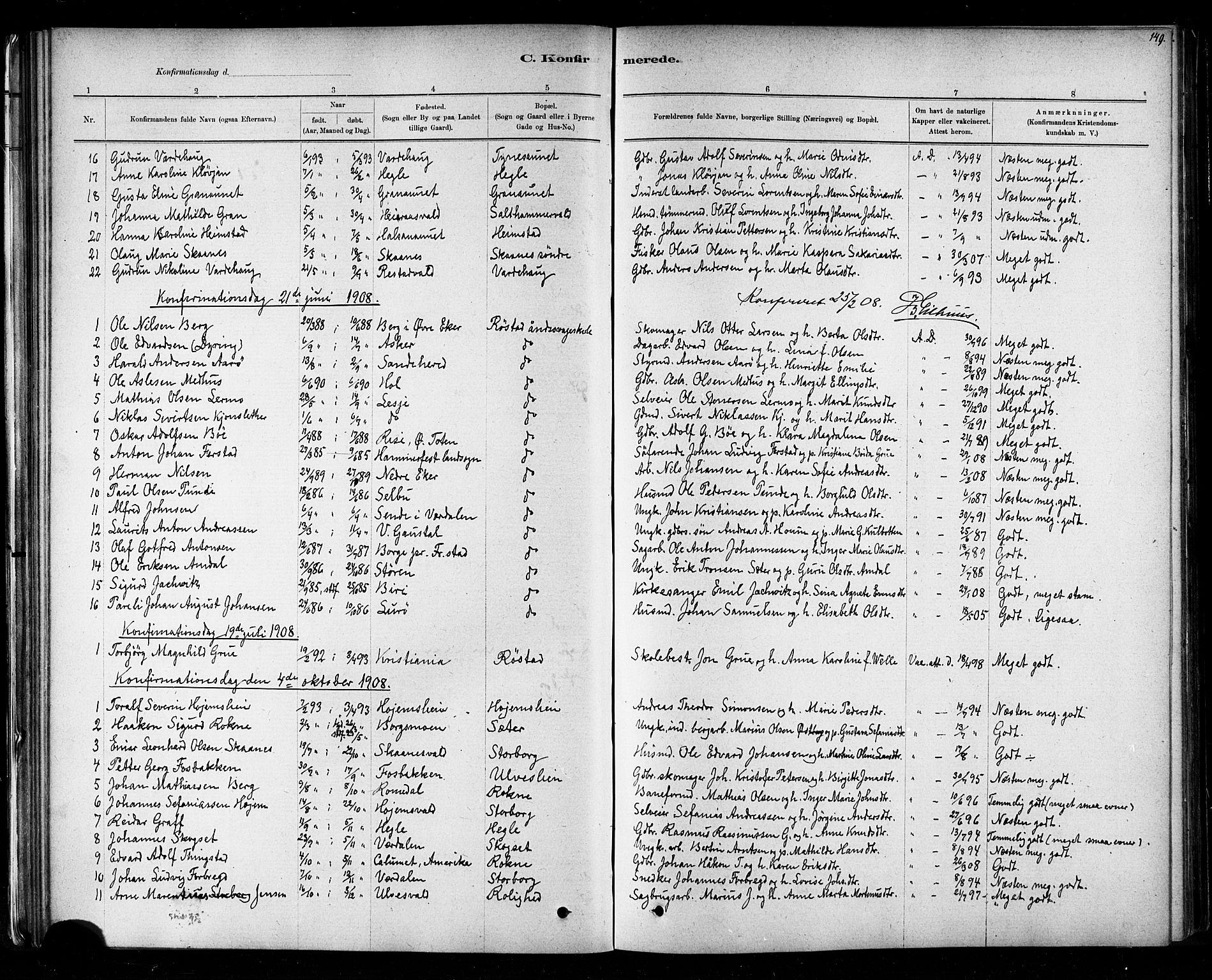 SAT, Ministerialprotokoller, klokkerbøker og fødselsregistre - Nord-Trøndelag, 721/L0208: Klokkerbok nr. 721C01, 1880-1917, s. 149