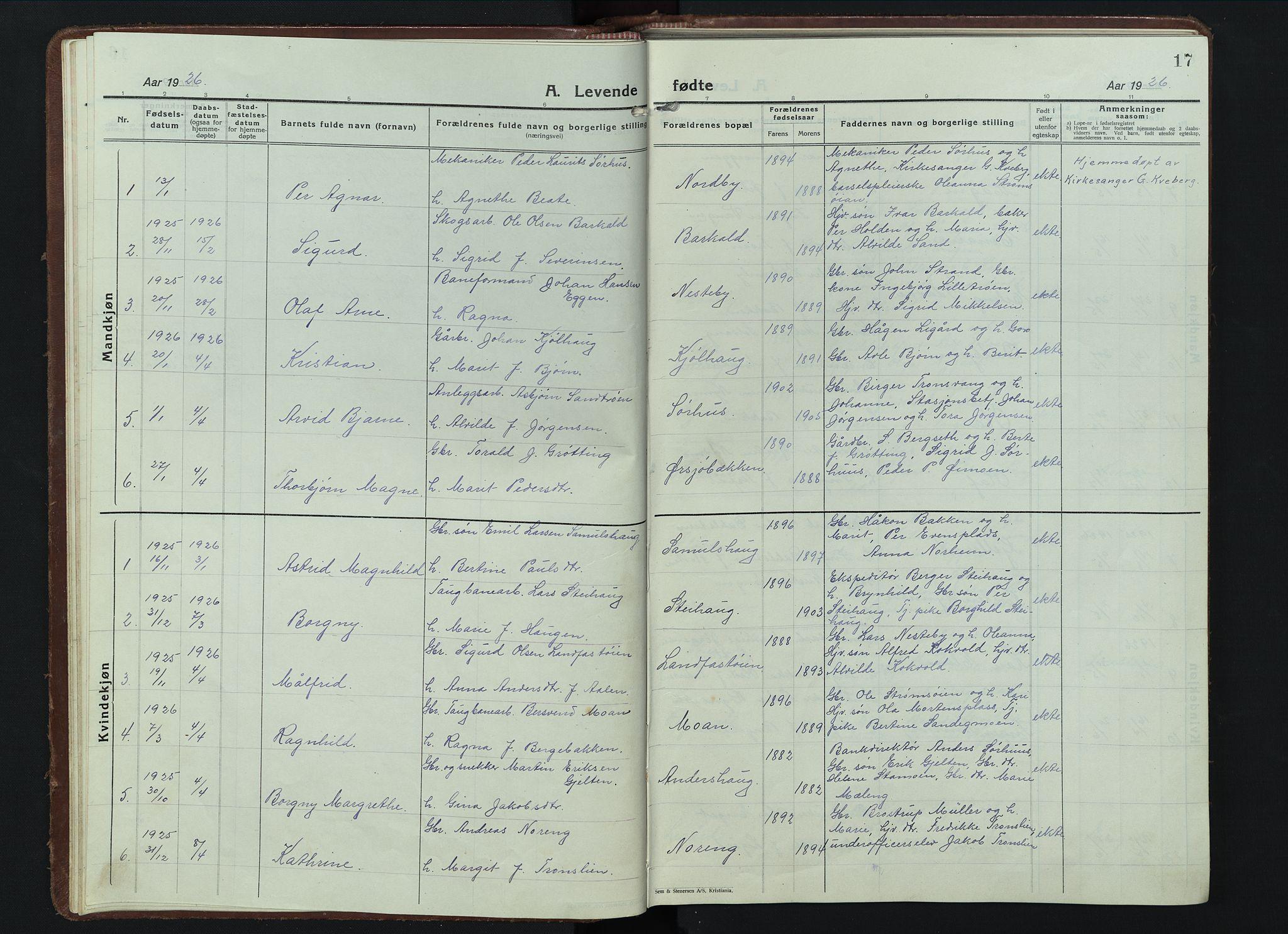 SAH, Alvdal prestekontor, Klokkerbok nr. 7, 1924-1945, s. 17