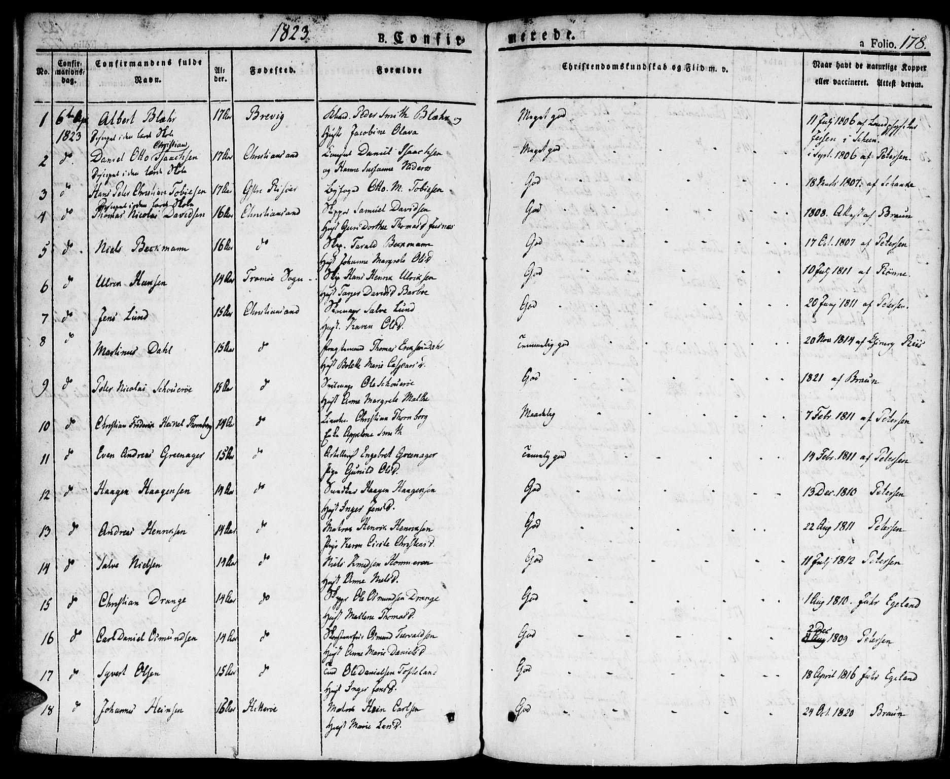 SAK, Kristiansand domprosti, F/Fa/L0009: Ministerialbok nr. A 9, 1821-1827, s. 178