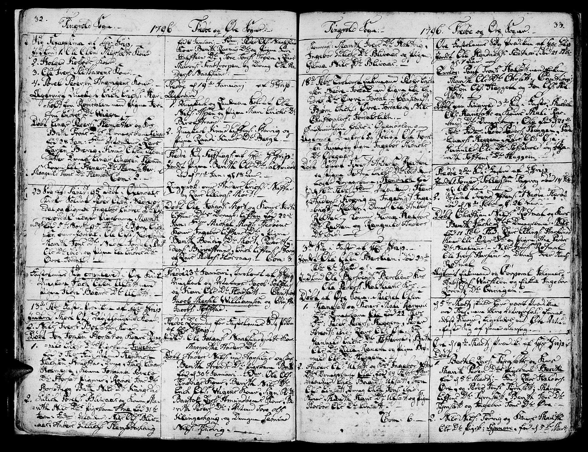 SAT, Ministerialprotokoller, klokkerbøker og fødselsregistre - Møre og Romsdal, 586/L0981: Ministerialbok nr. 586A07, 1794-1819, s. 32-33