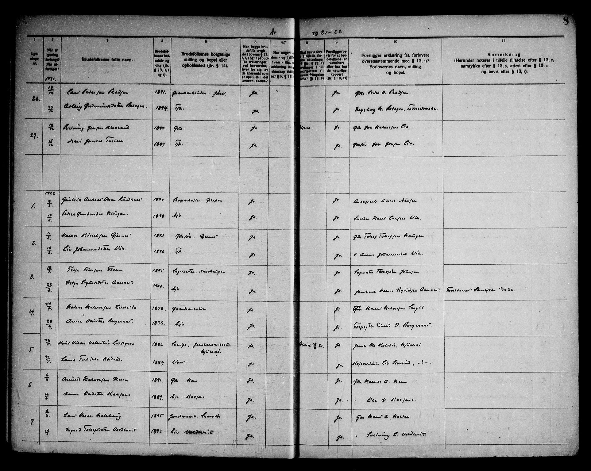 SAKO, Sauherad kirkebøker, H/Ha/L0001: Lysningsprotokoll nr. 1, 1919-1960, s. 8