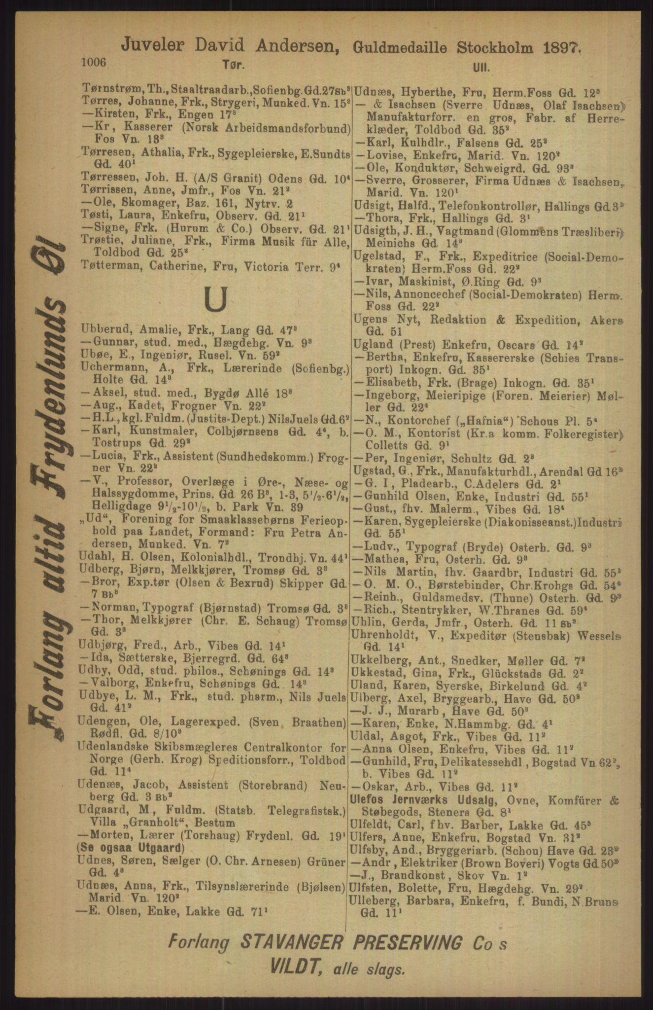 RA, Kristiania adressebok (publikasjon)*, 1911, s. 1006