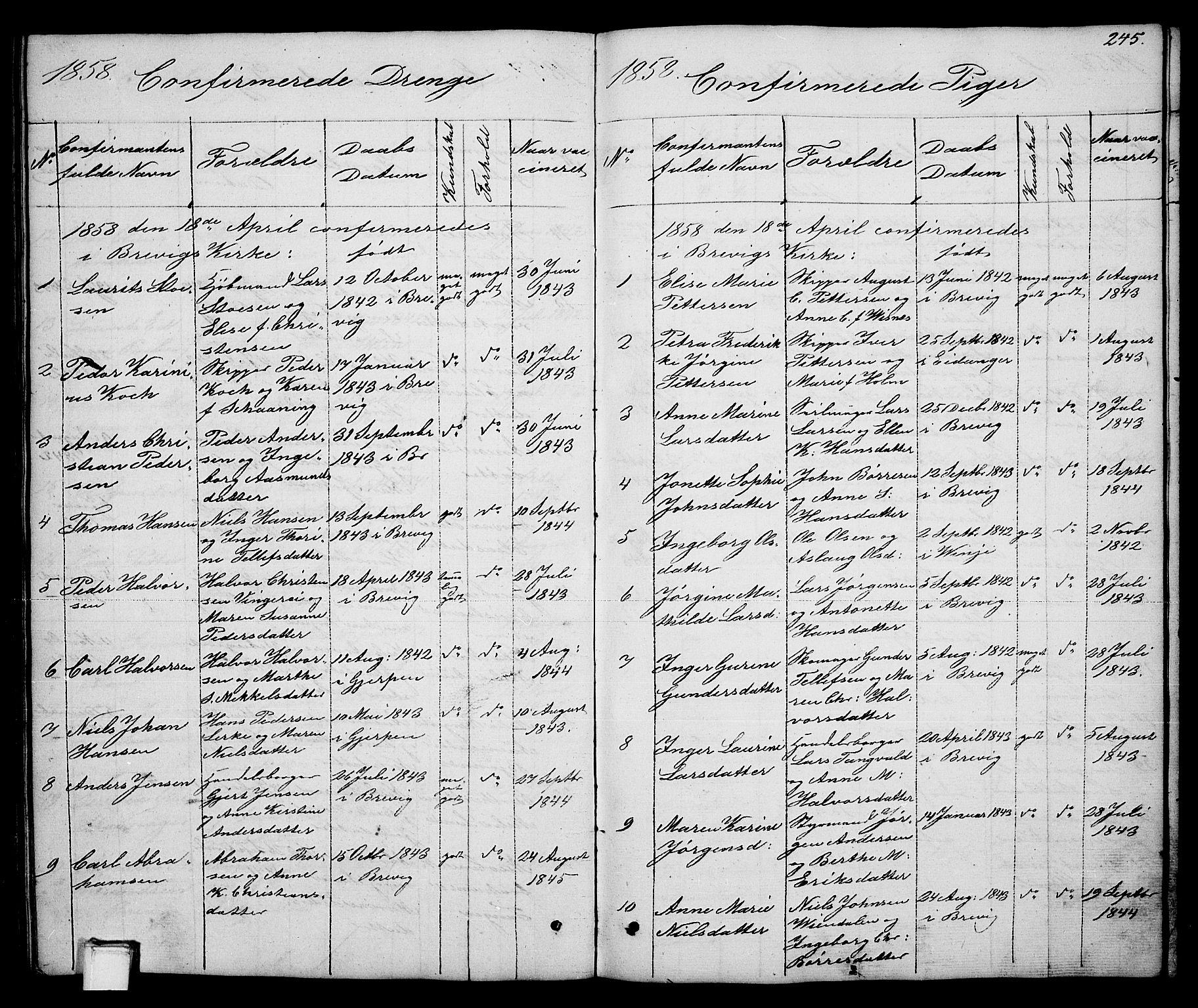 SAKO, Brevik kirkebøker, G/Ga/L0002: Klokkerbok nr. 2, 1846-1865, s. 245