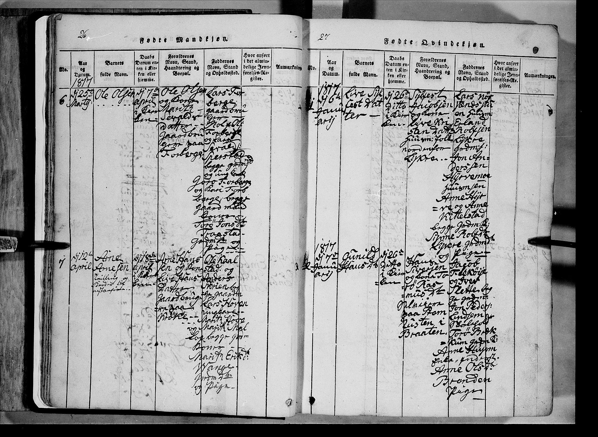 SAH, Lom prestekontor, L/L0003: Klokkerbok nr. 3, 1815-1844, s. 26-27
