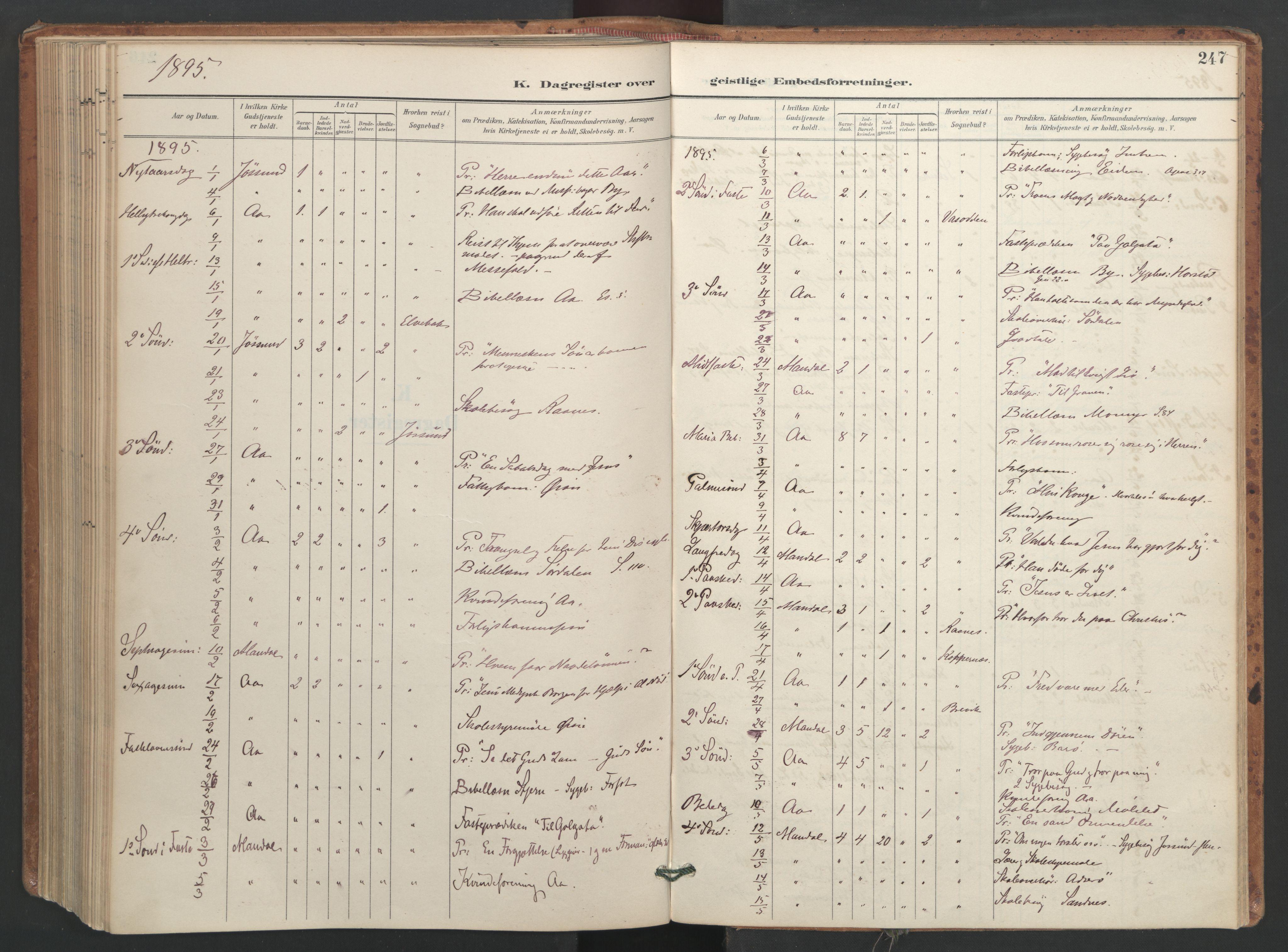 SAT, Ministerialprotokoller, klokkerbøker og fødselsregistre - Sør-Trøndelag, 655/L0681: Ministerialbok nr. 655A10, 1895-1907, s. 247