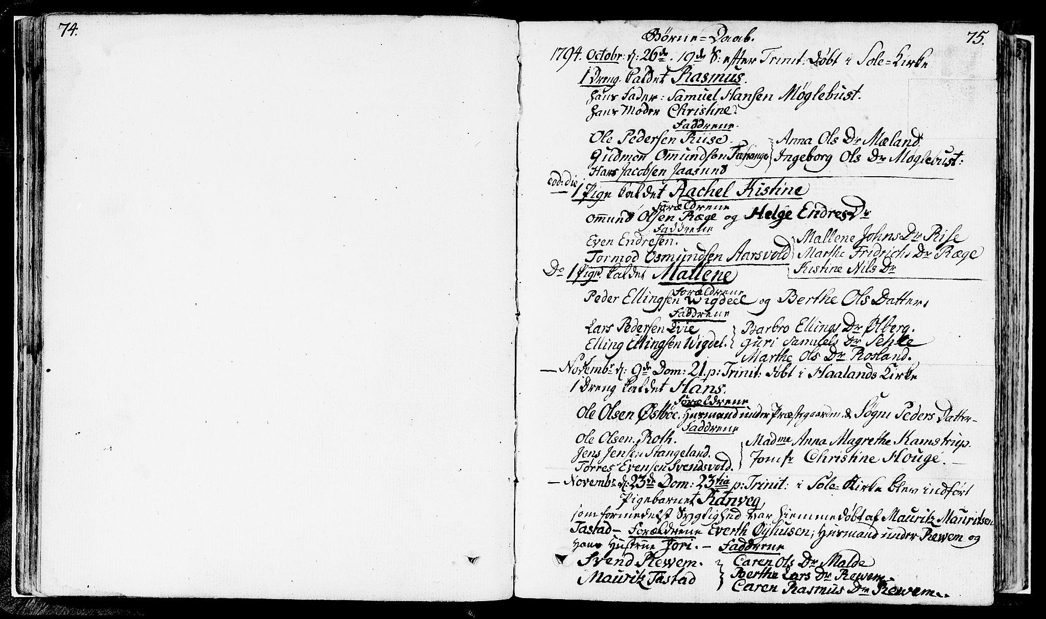 SAST, Håland sokneprestkontor, 30BA/L0003: Ministerialbok nr. A 3, 1794-1815, s. 74-75
