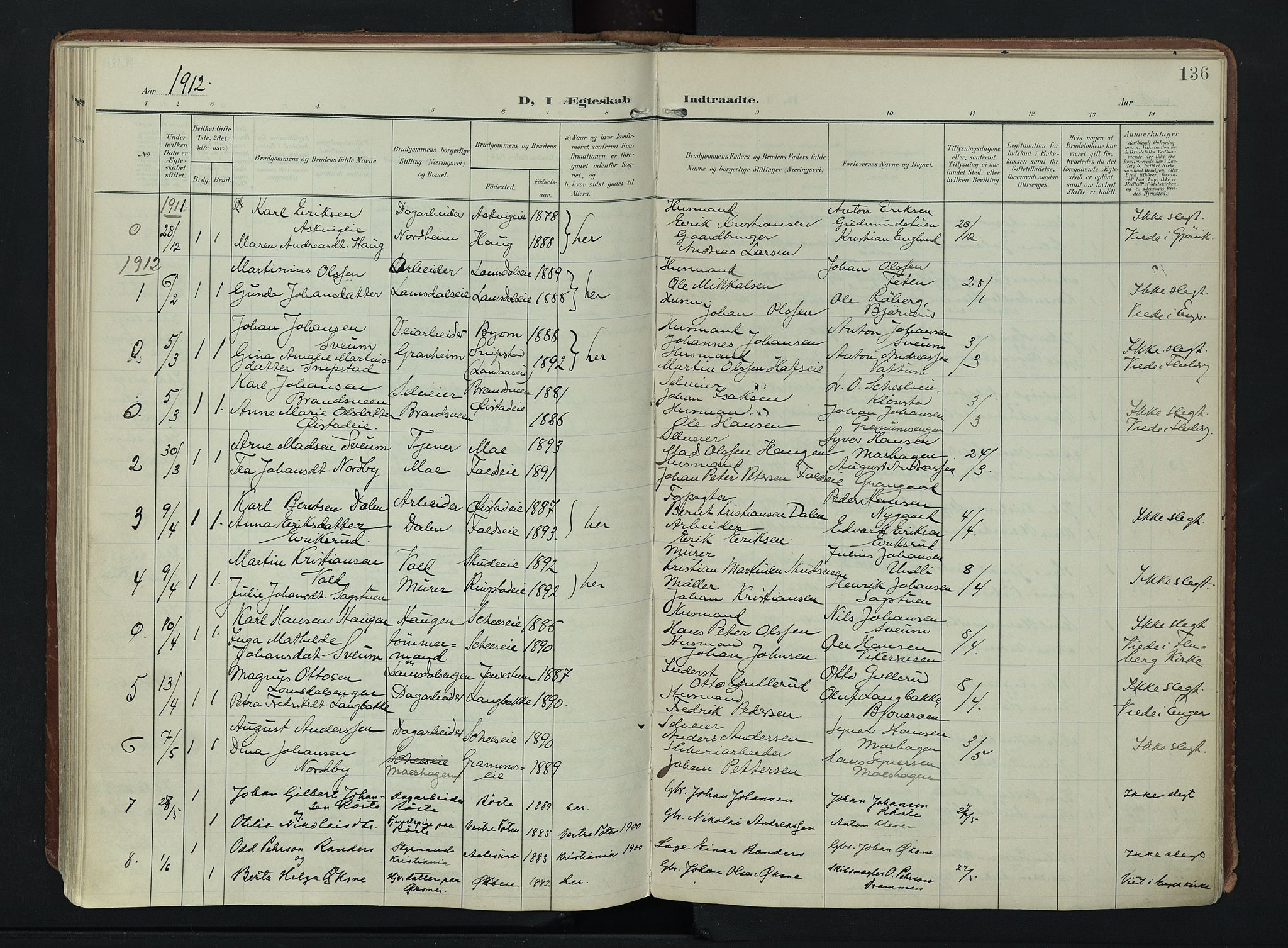 SAH, Søndre Land prestekontor, K/L0007: Ministerialbok nr. 7, 1905-1914, s. 136