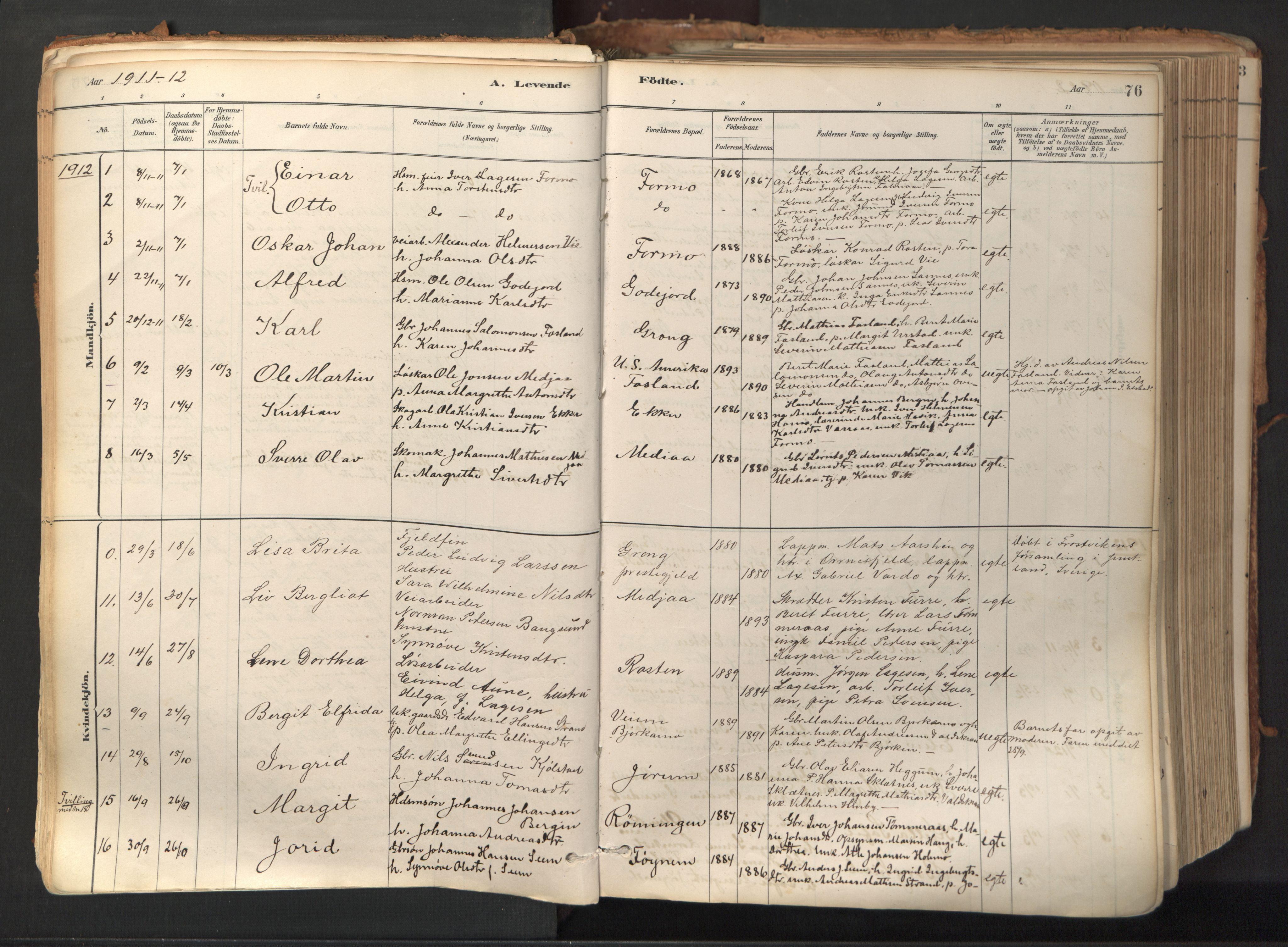 SAT, Ministerialprotokoller, klokkerbøker og fødselsregistre - Nord-Trøndelag, 758/L0519: Ministerialbok nr. 758A04, 1880-1926, s. 76