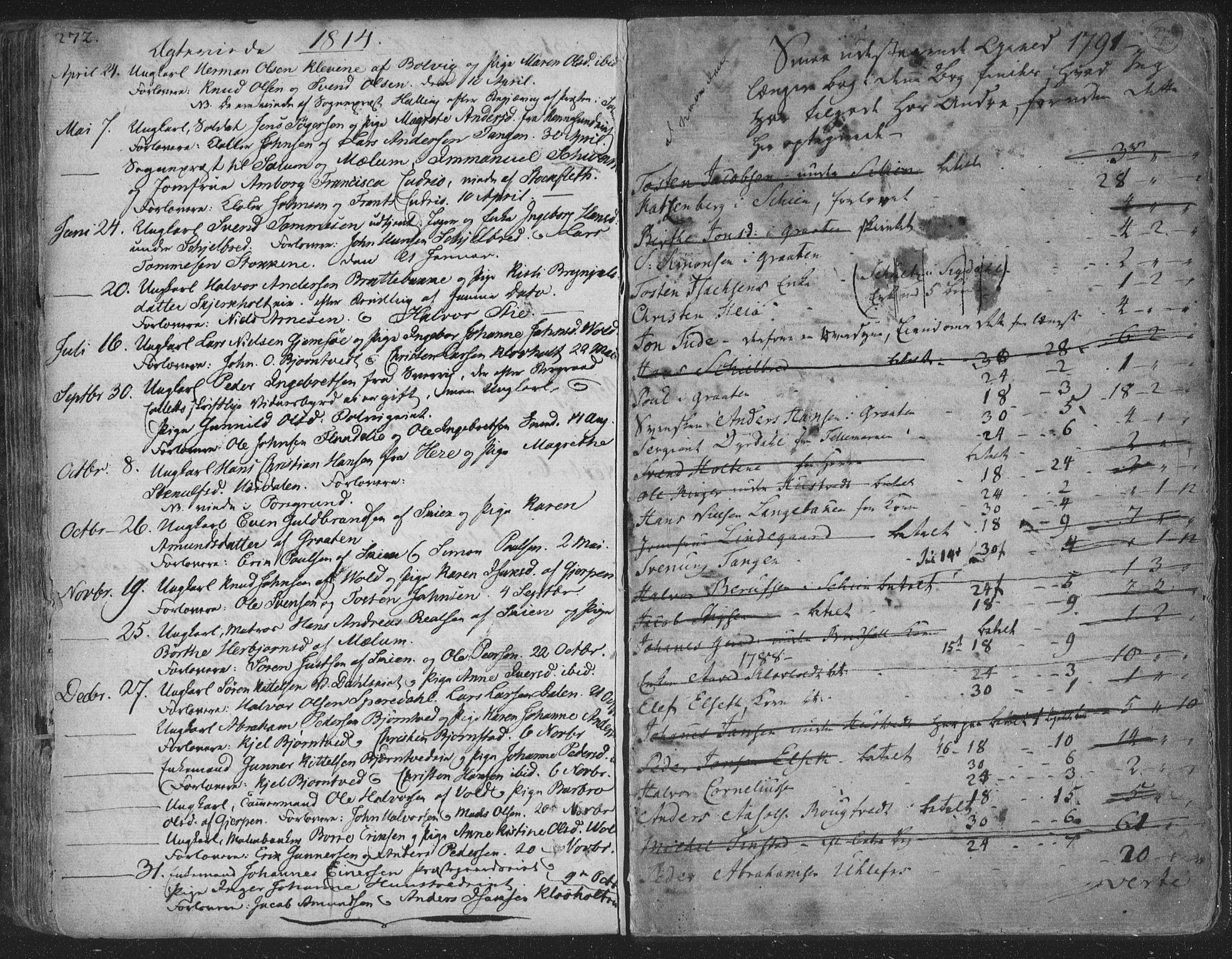 SAKO, Solum kirkebøker, F/Fa/L0003: Ministerialbok nr. I 3, 1761-1814, s. 272-273