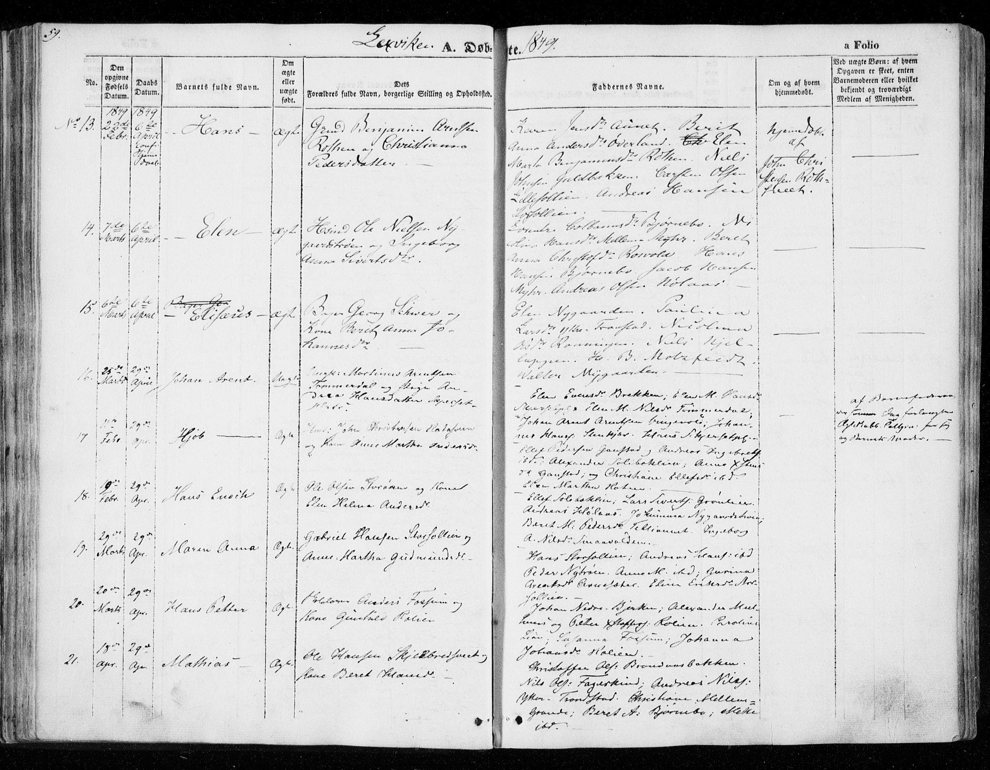 SAT, Ministerialprotokoller, klokkerbøker og fødselsregistre - Nord-Trøndelag, 701/L0007: Ministerialbok nr. 701A07 /1, 1842-1854, s. 59
