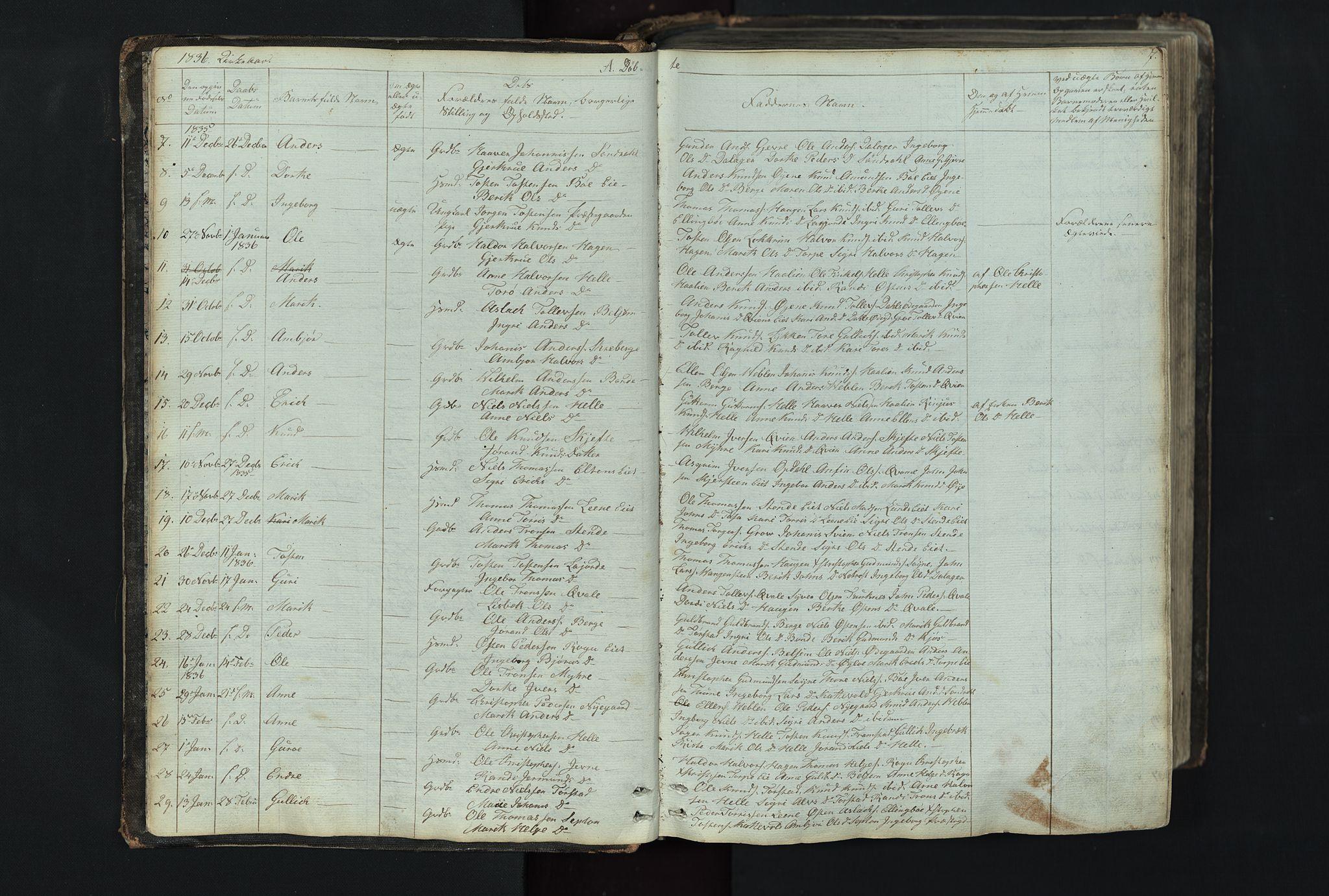 SAH, Vang prestekontor, Valdres, Klokkerbok nr. 4, 1835-1892, s. 7