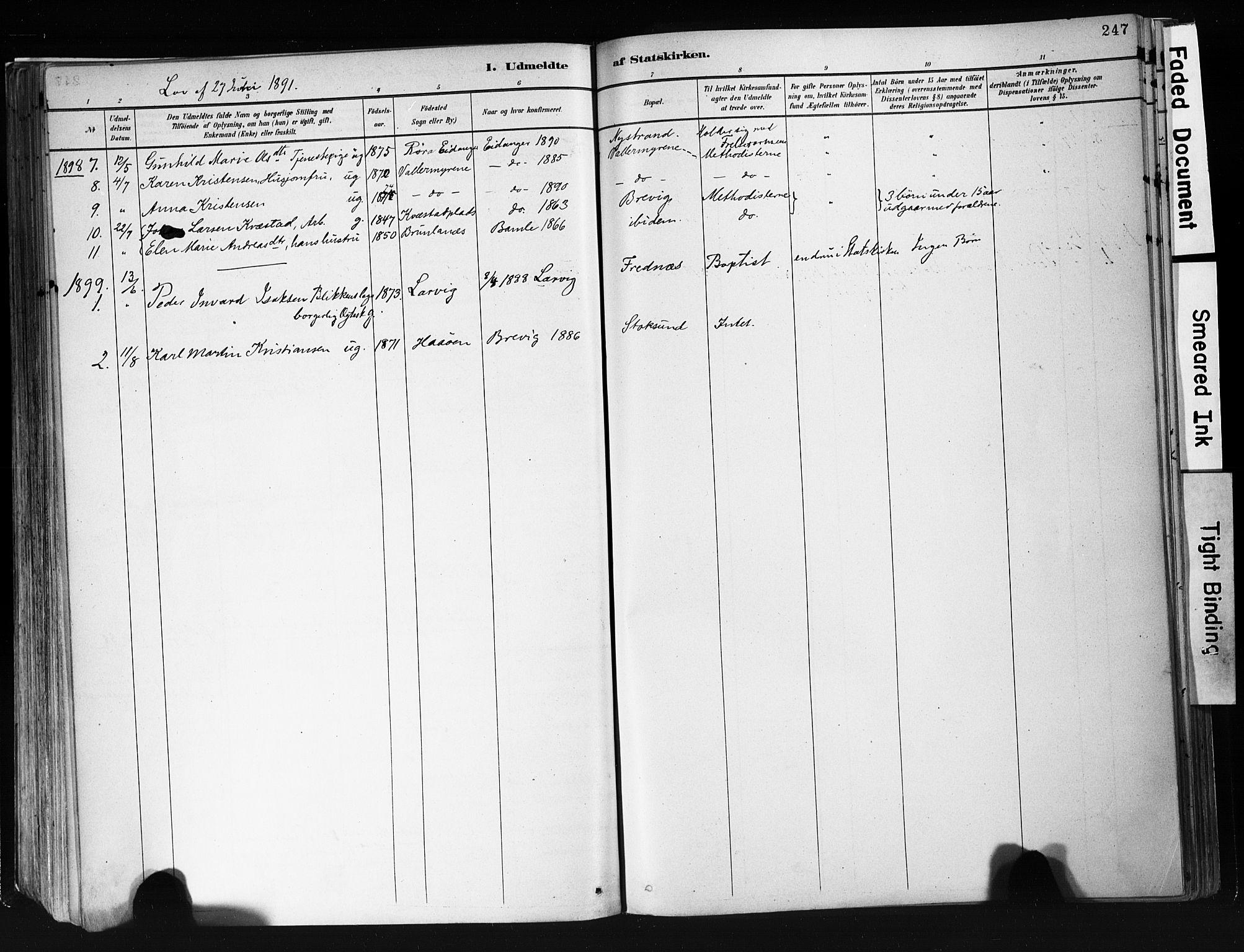 SAKO, Eidanger kirkebøker, F/Fa/L0012: Ministerialbok nr. 12, 1879-1900, s. 247