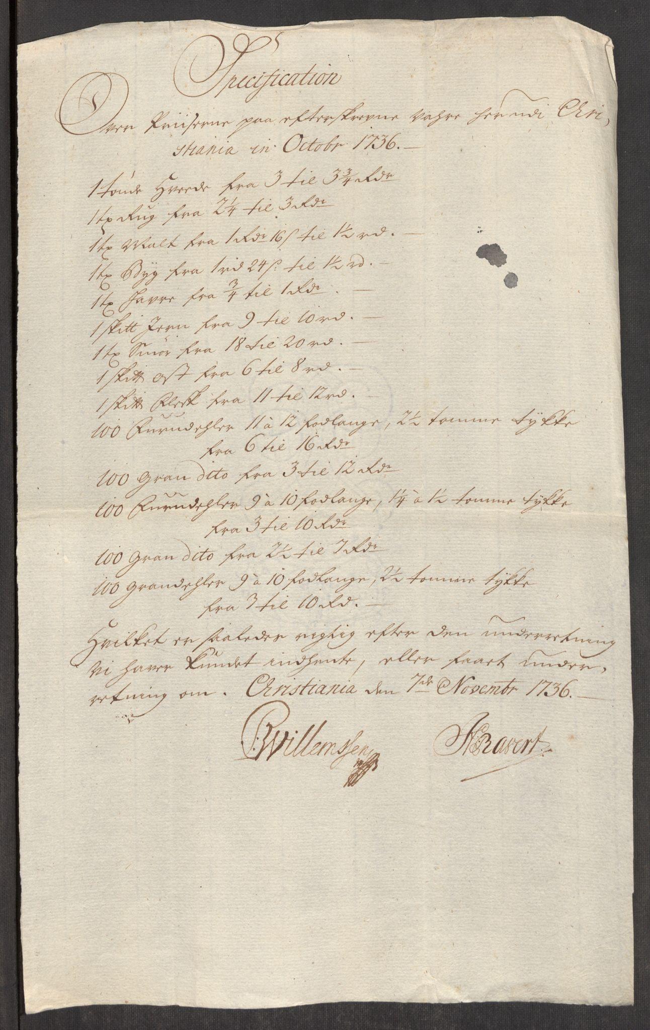 RA, Rentekammeret inntil 1814, Realistisk ordnet avdeling, Oe/L0001: [Ø1]: Priskuranter, 1712-1739, s. 344