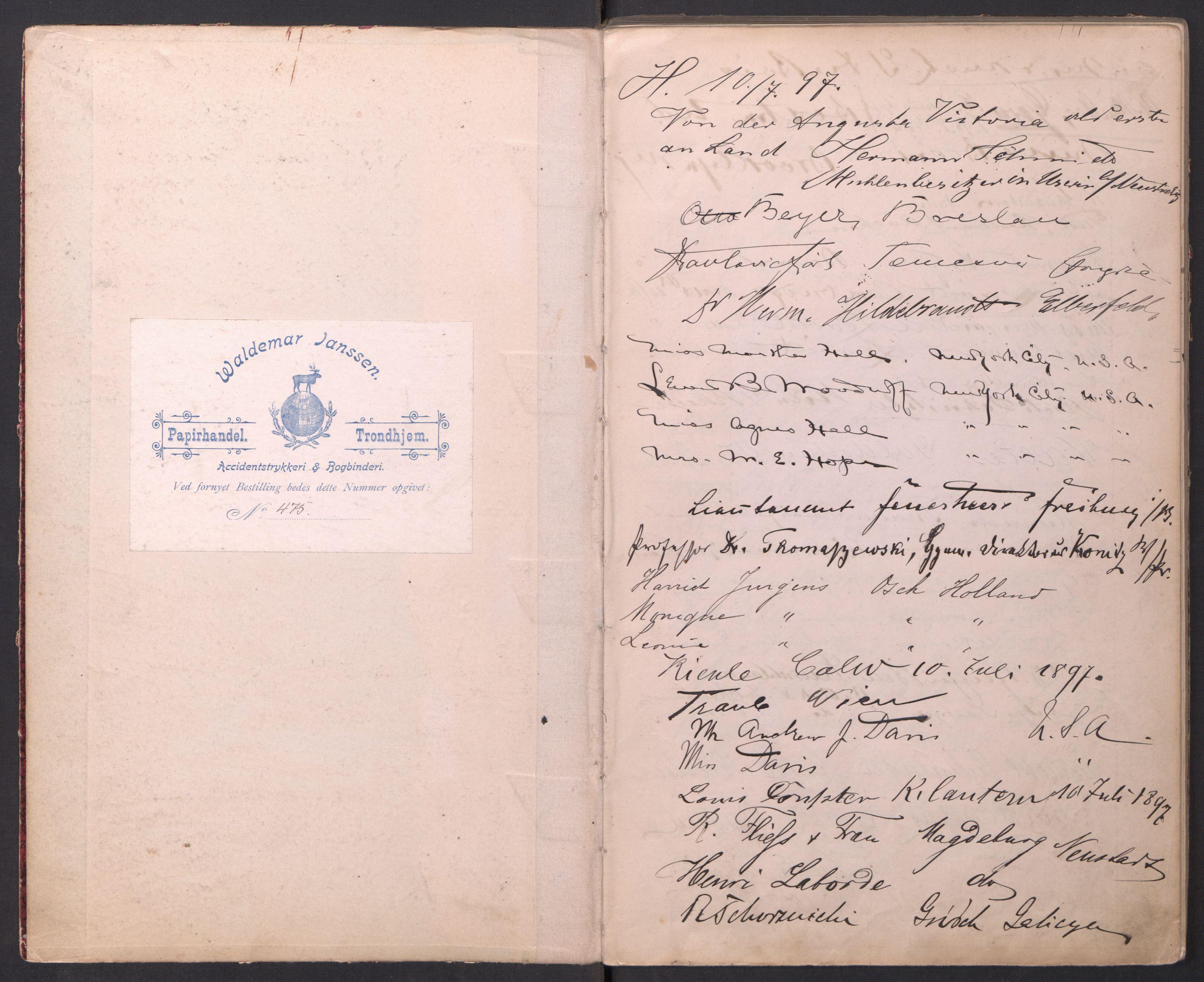 RA, Vesteraalens Dampskibsselskab, H/Hd/Hdb/L0001, 1897-1899
