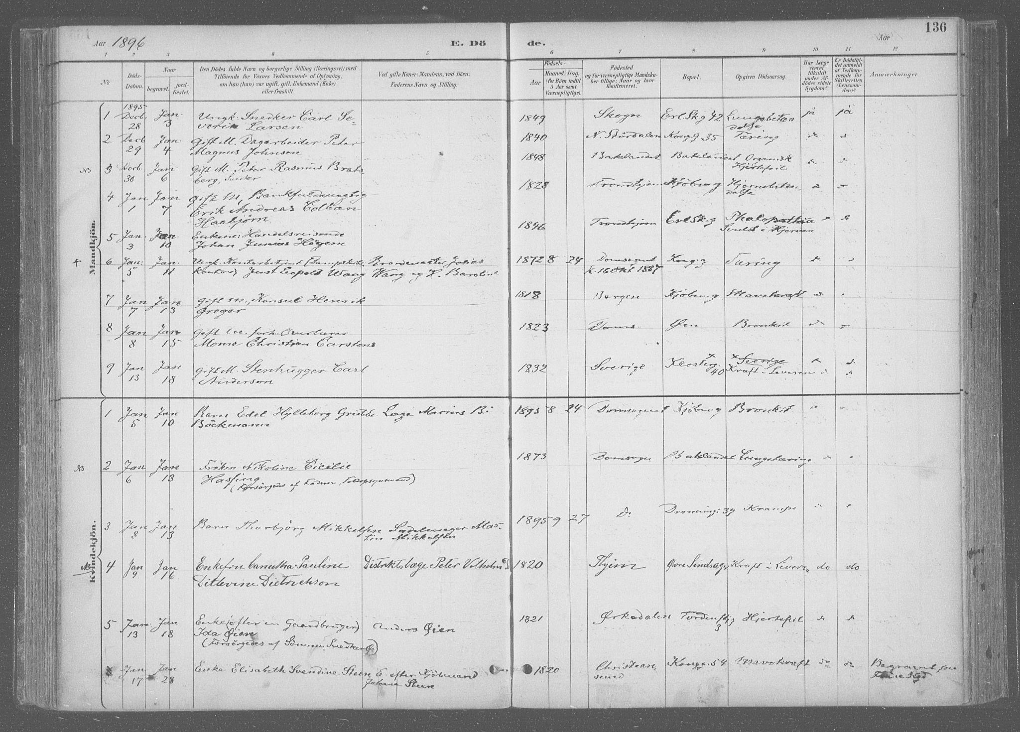 SAT, Ministerialprotokoller, klokkerbøker og fødselsregistre - Sør-Trøndelag, 601/L0064: Ministerialbok nr. 601A31, 1891-1911, s. 136