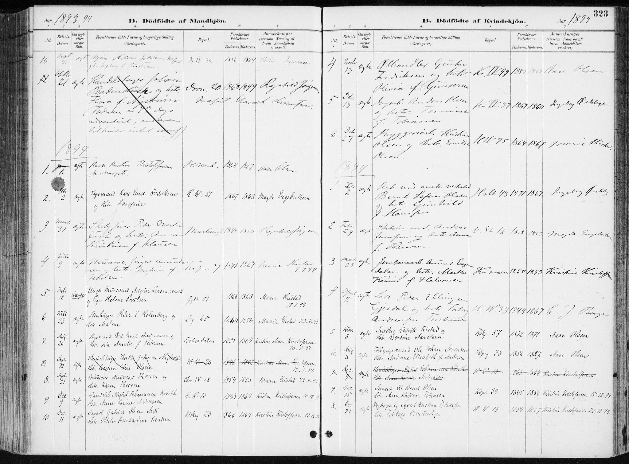 SAK, Kristiansand domprosti, F/Fa/L0019: Ministerialbok nr. A 18, 1890-1897, s. 323