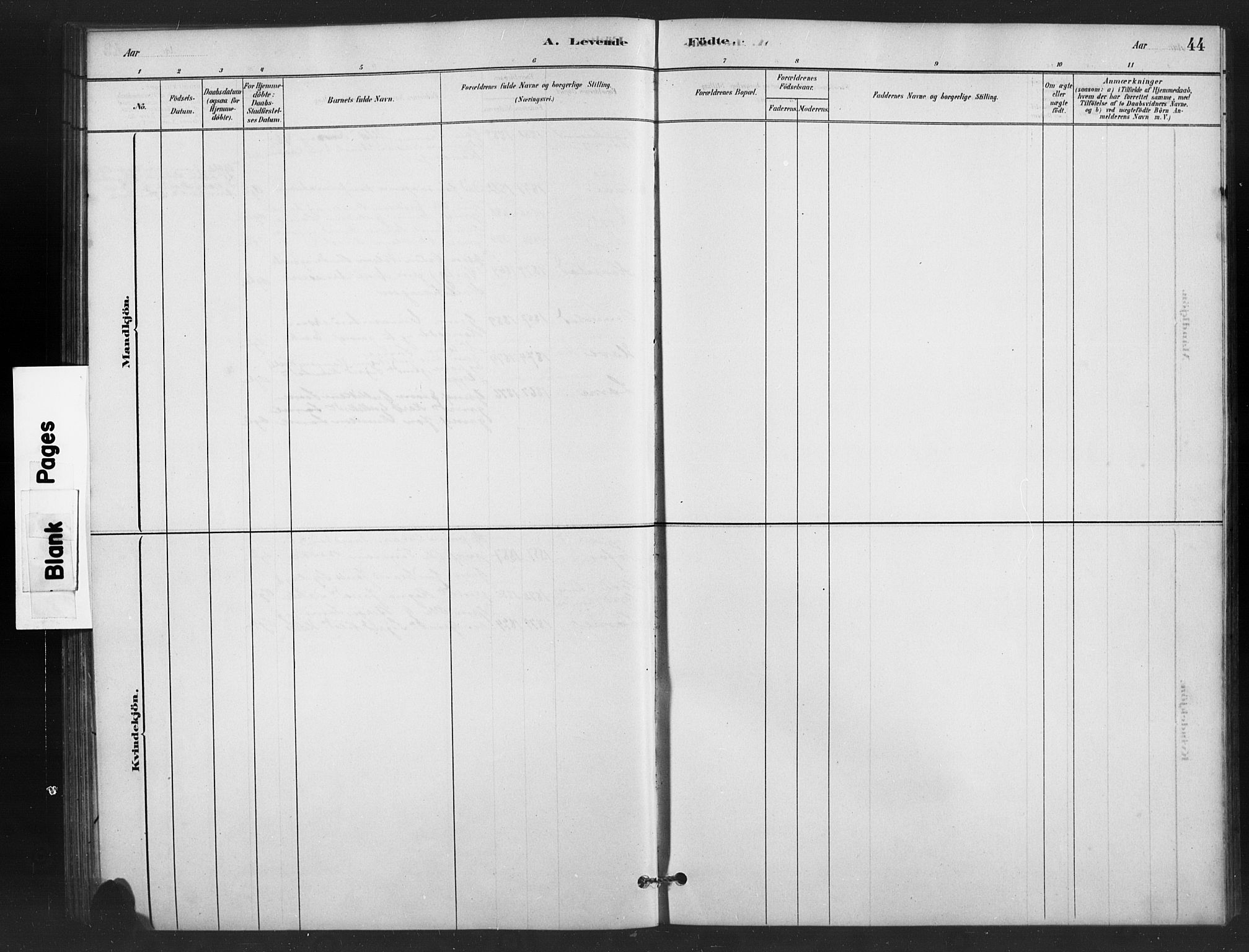 SAH, Vestre Slidre prestekontor, Klokkerbok nr. 6, 1881-1915, s. 44