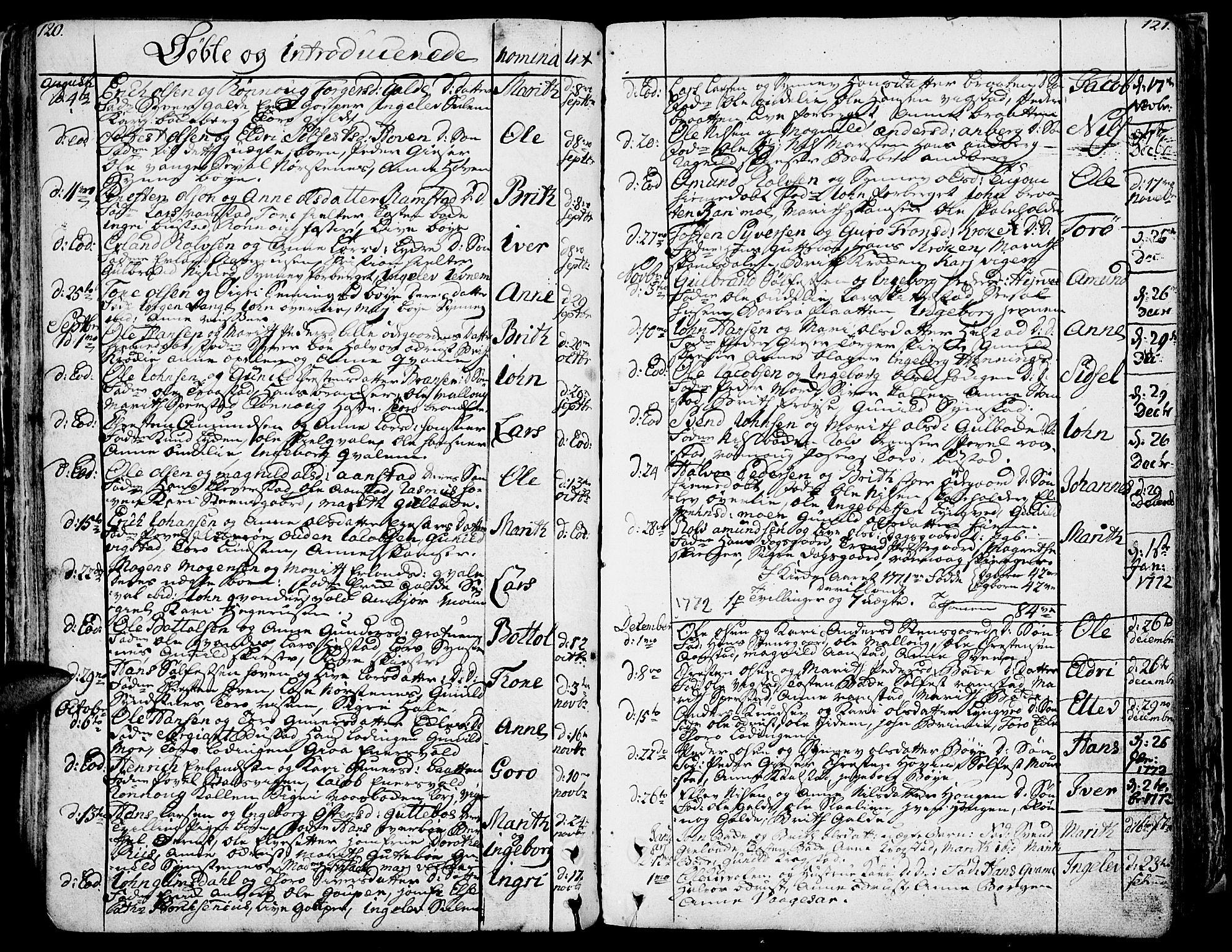 SAH, Lom prestekontor, K/L0002: Ministerialbok nr. 2, 1749-1801, s. 120-121