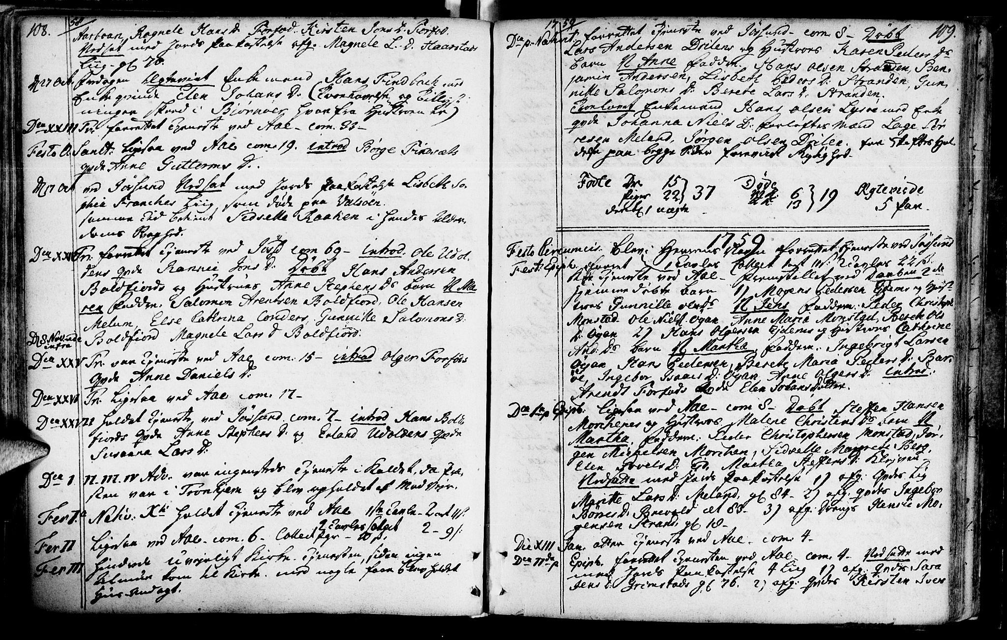 SAT, Ministerialprotokoller, klokkerbøker og fødselsregistre - Sør-Trøndelag, 655/L0672: Ministerialbok nr. 655A01, 1750-1779, s. 108-109
