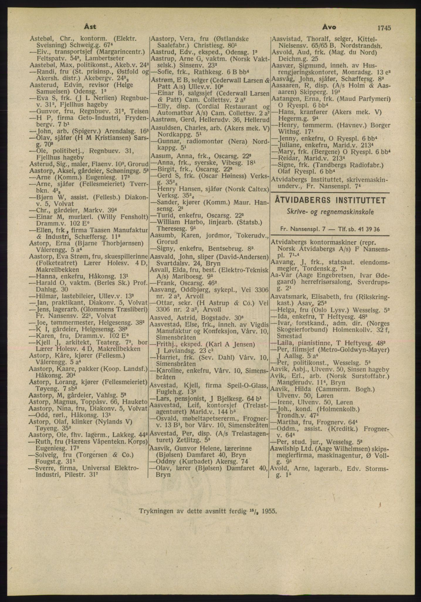 PUBL, Kristiania/Oslo adressebok, 1955, s. 1745