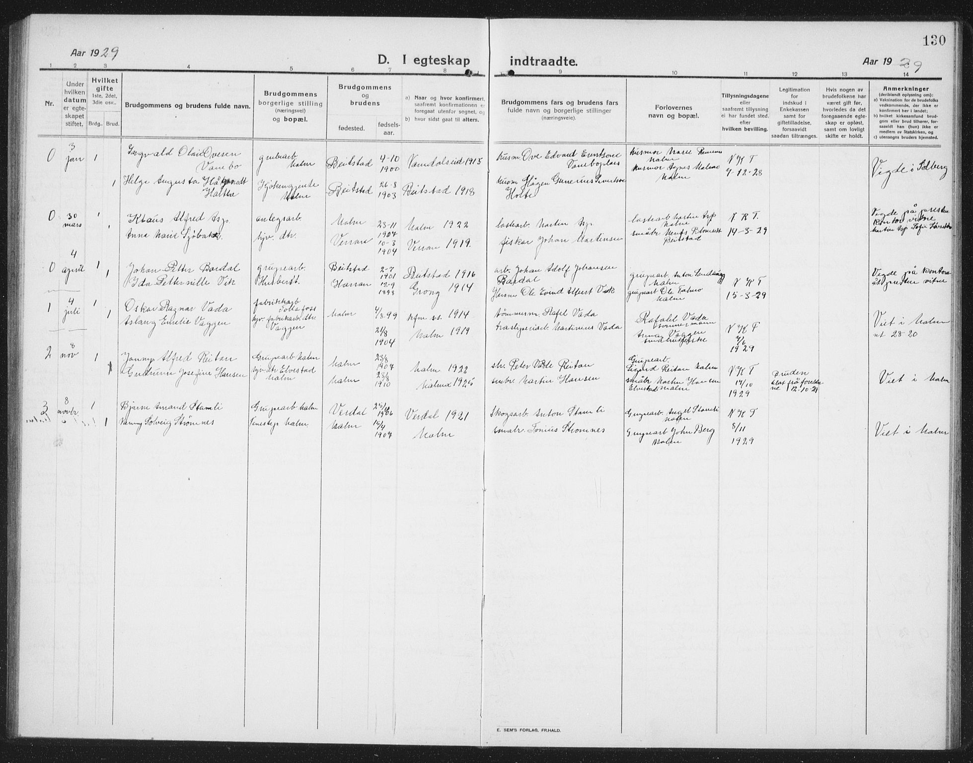 SAT, Ministerialprotokoller, klokkerbøker og fødselsregistre - Nord-Trøndelag, 745/L0434: Klokkerbok nr. 745C03, 1914-1937, s. 130