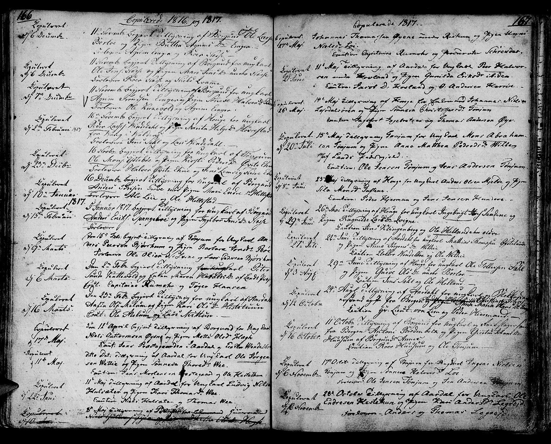 SAB, Lærdal sokneprestembete, Ministerialbok nr. A 4, 1805-1821, s. 166-167