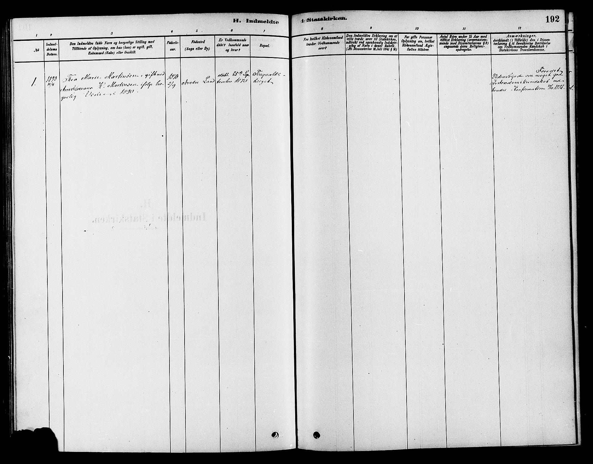 SAH, Søndre Land prestekontor, K/L0002: Ministerialbok nr. 2, 1878-1894, s. 192