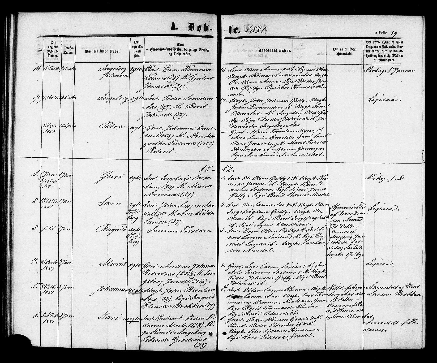 SAT, Ministerialprotokoller, klokkerbøker og fødselsregistre - Sør-Trøndelag, 698/L1163: Ministerialbok nr. 698A01, 1862-1887, s. 39