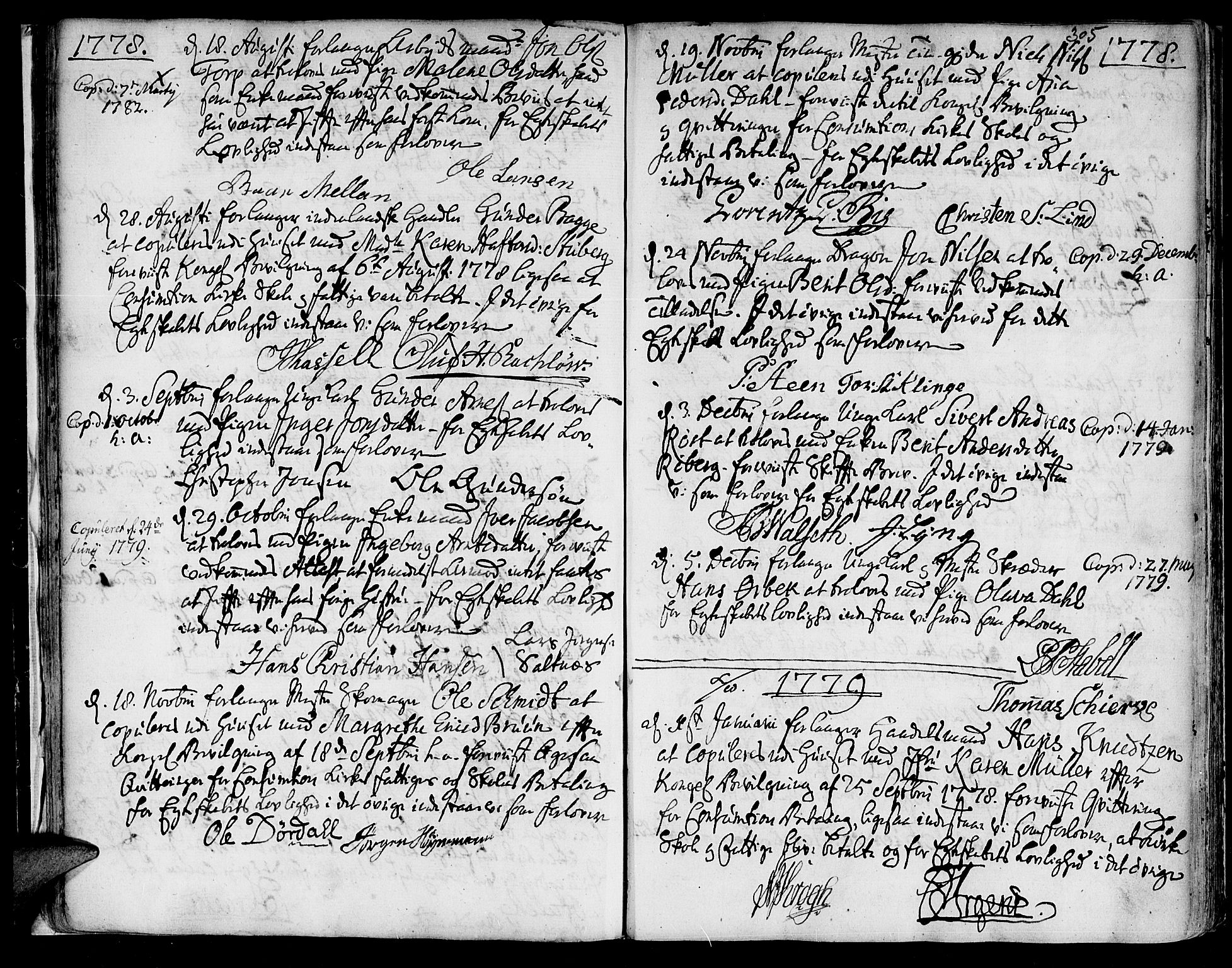 SAT, Ministerialprotokoller, klokkerbøker og fødselsregistre - Sør-Trøndelag, 601/L0038: Ministerialbok nr. 601A06, 1766-1877, s. 305