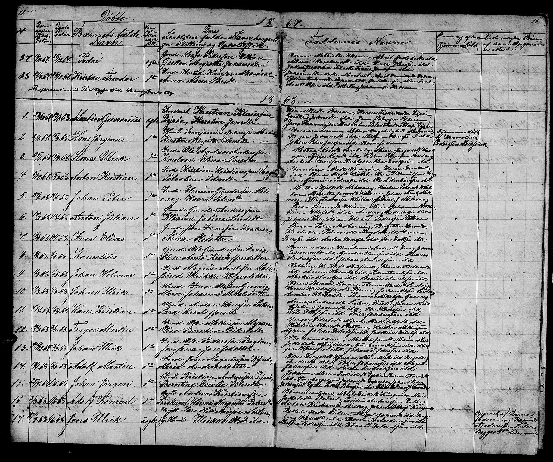 SAT, Ministerialprotokoller, klokkerbøker og fødselsregistre - Sør-Trøndelag, 640/L0583: Klokkerbok nr. 640C01, 1866-1877, s. 12-13