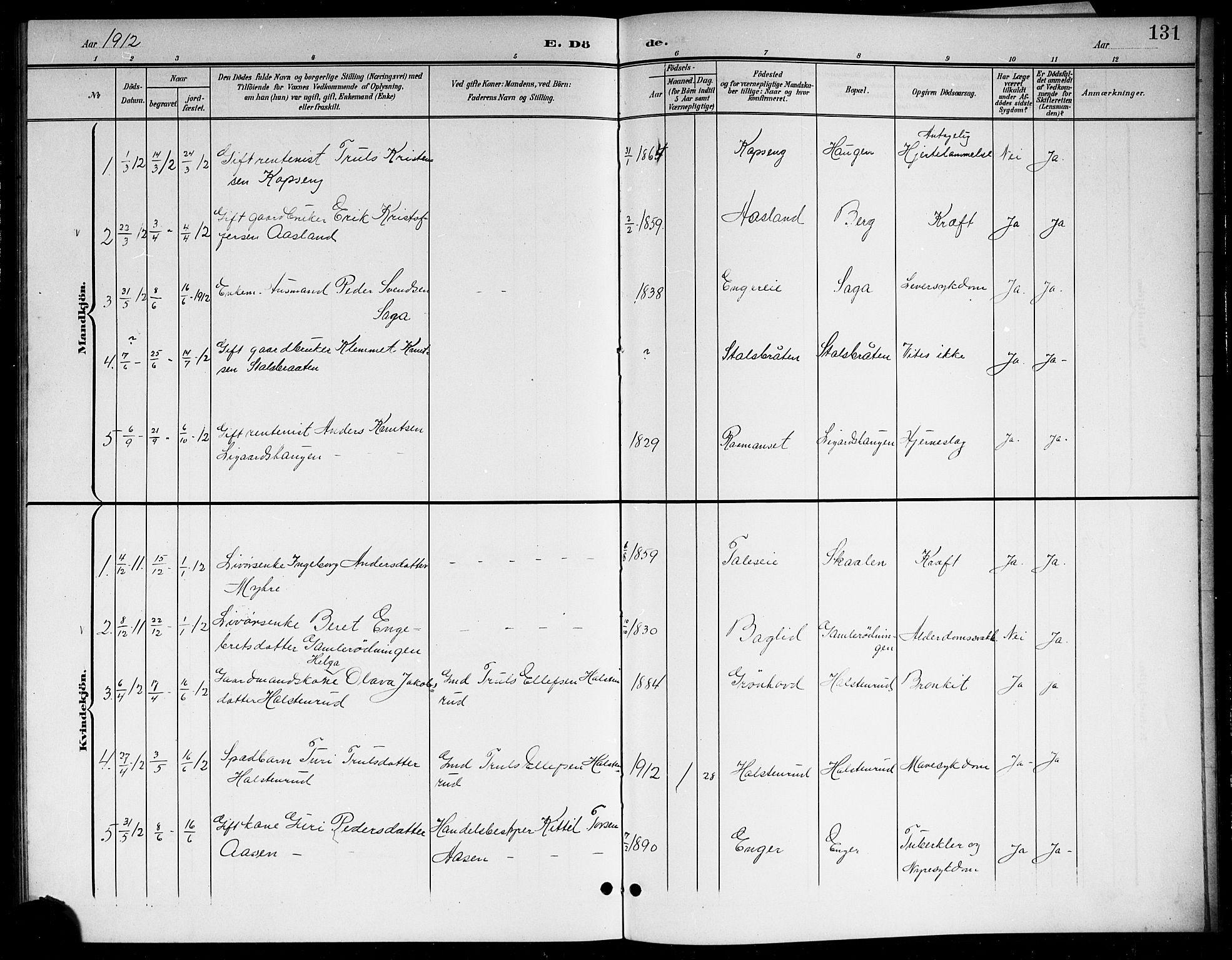 SAKO, Sigdal kirkebøker, G/Gb/L0003: Klokkerbok nr. II 3, 1901-1916, s. 131