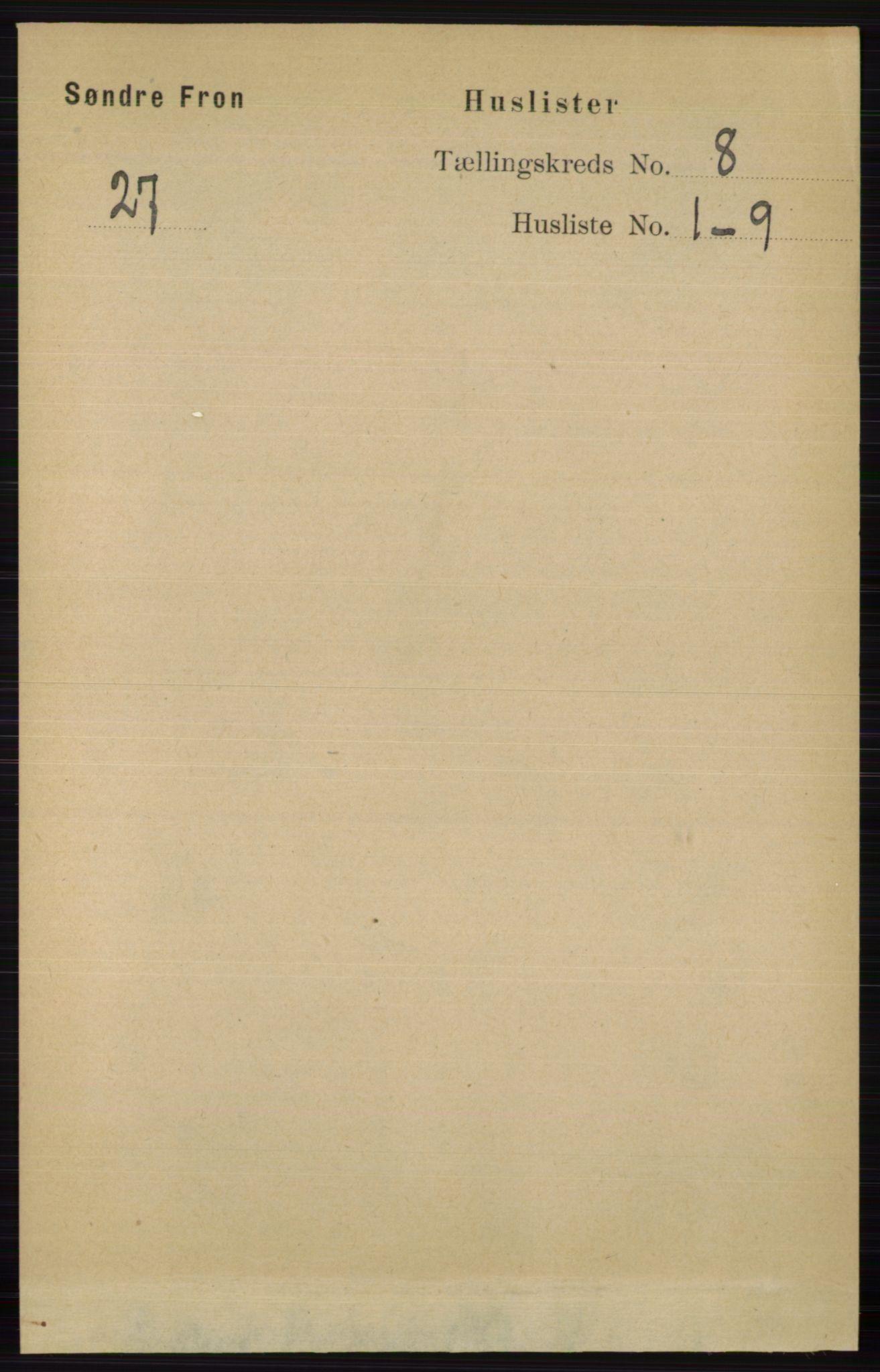 RA, Folketelling 1891 for 0519 Sør-Fron herred, 1891, s. 3707